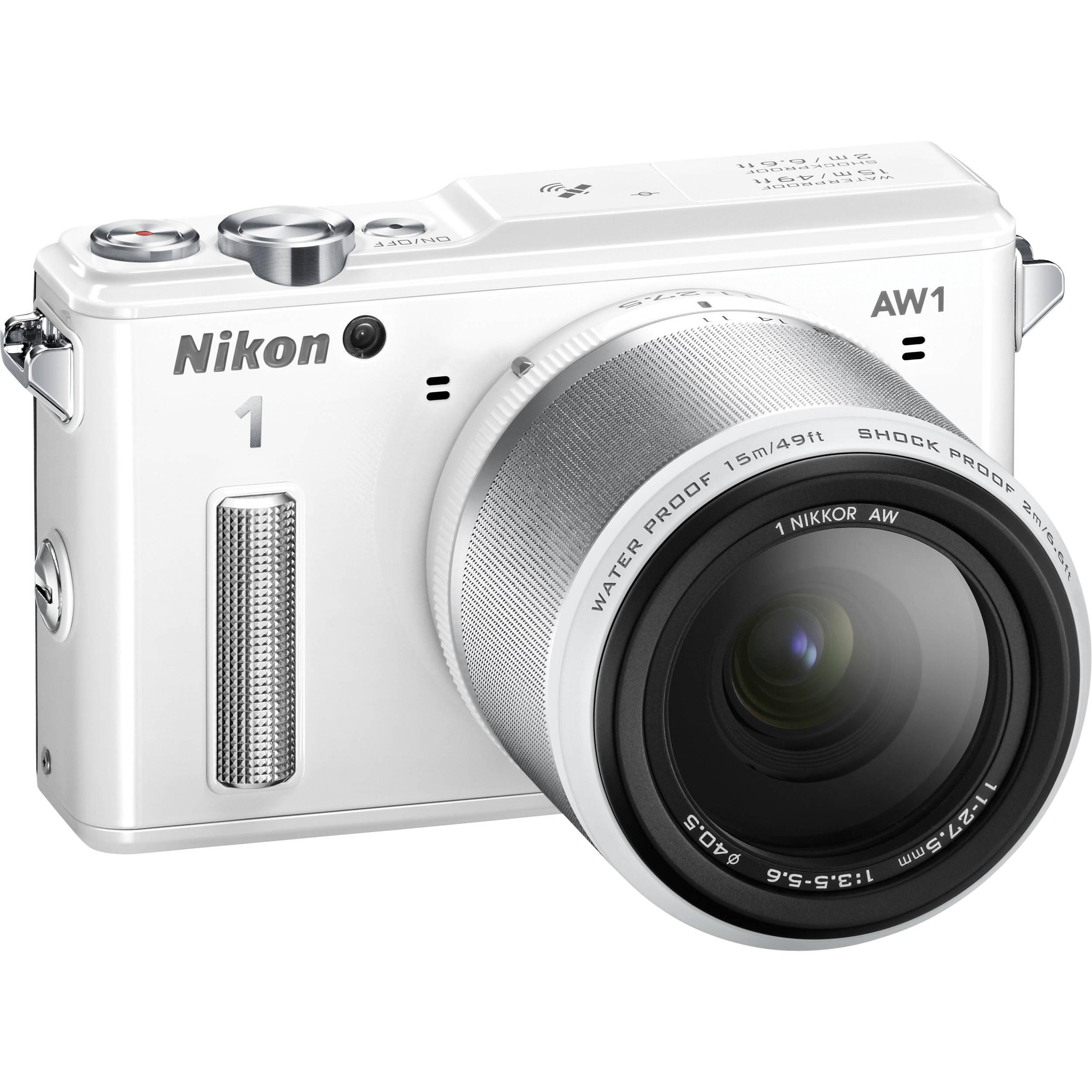 Nikon 1 AW1 Mirrorless Digital Camera with 11-27 5mm Lens (White)