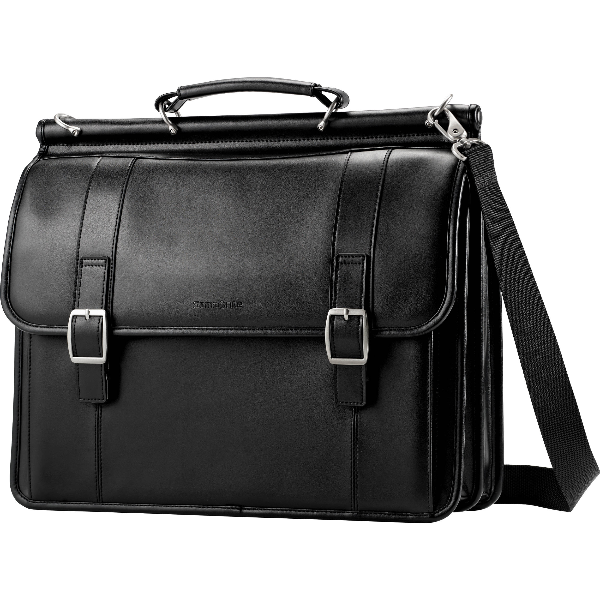 Samsonite Leather Business Cases Flap Over Briefcase in Black