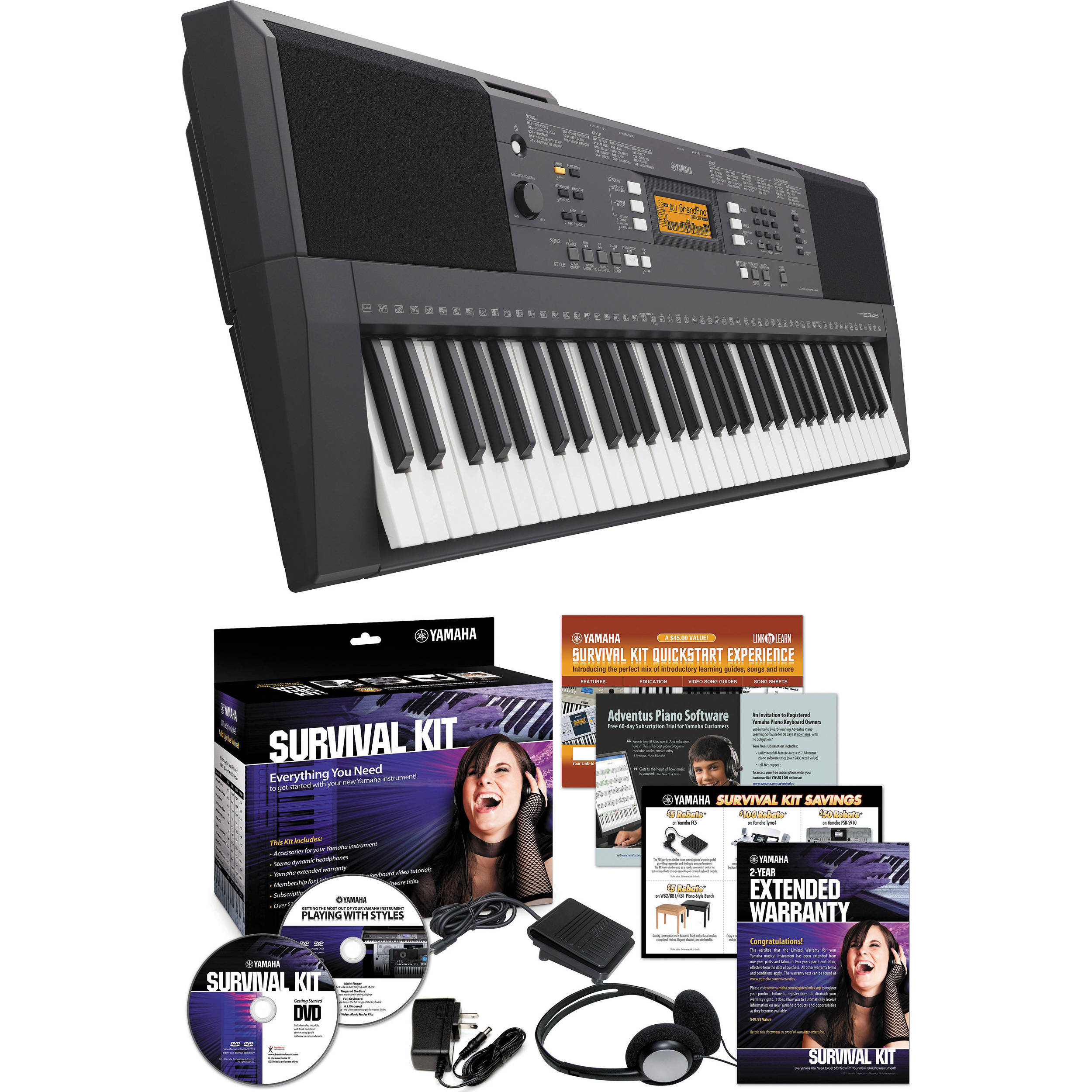 Yamaha PSR-E343 Portable Keyboard with Survival Kit Bundle