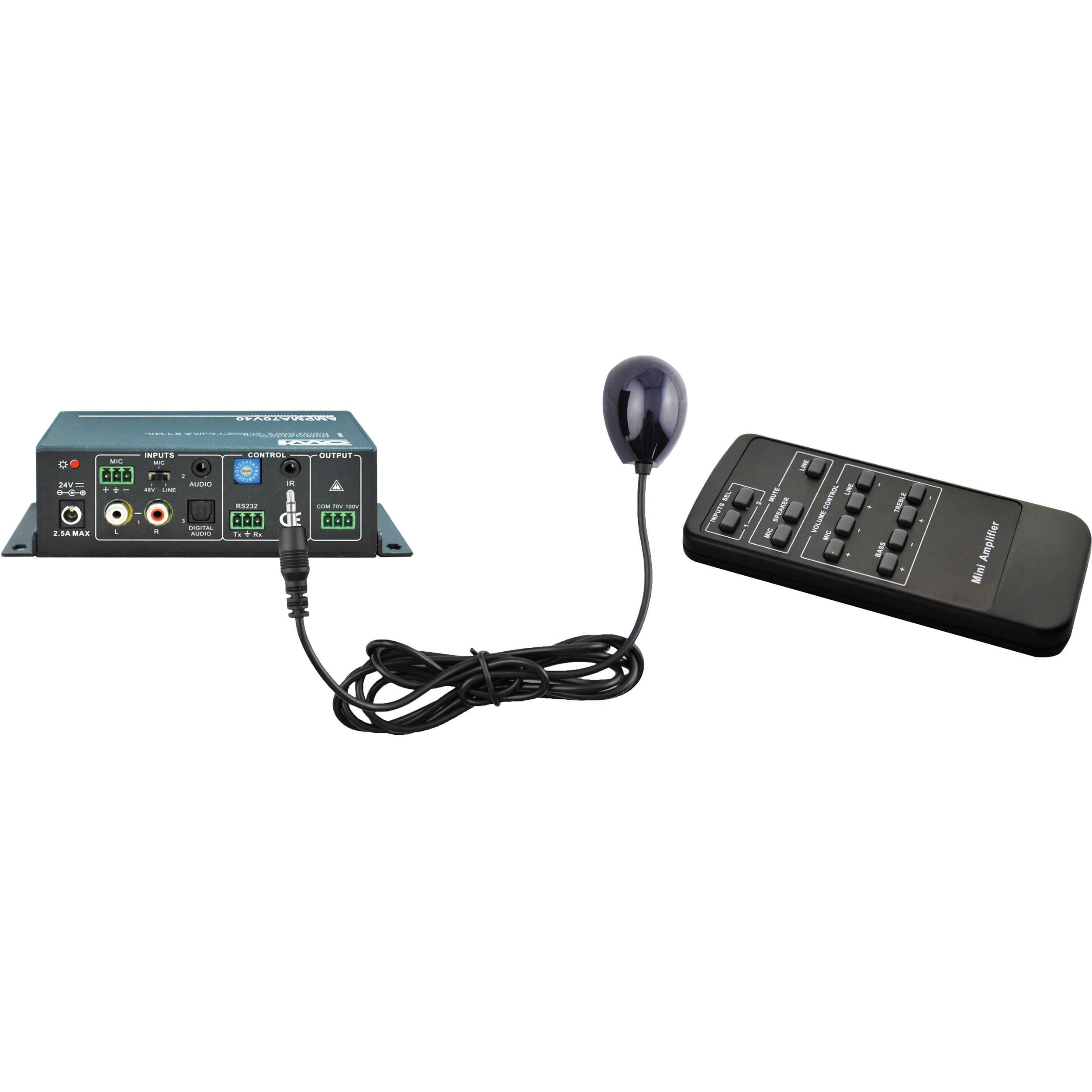 OWI Inc  AMPMA70V40 70V, 40W Digital Mini Amplifier/Mic Mixer/EQ with  Remote Control