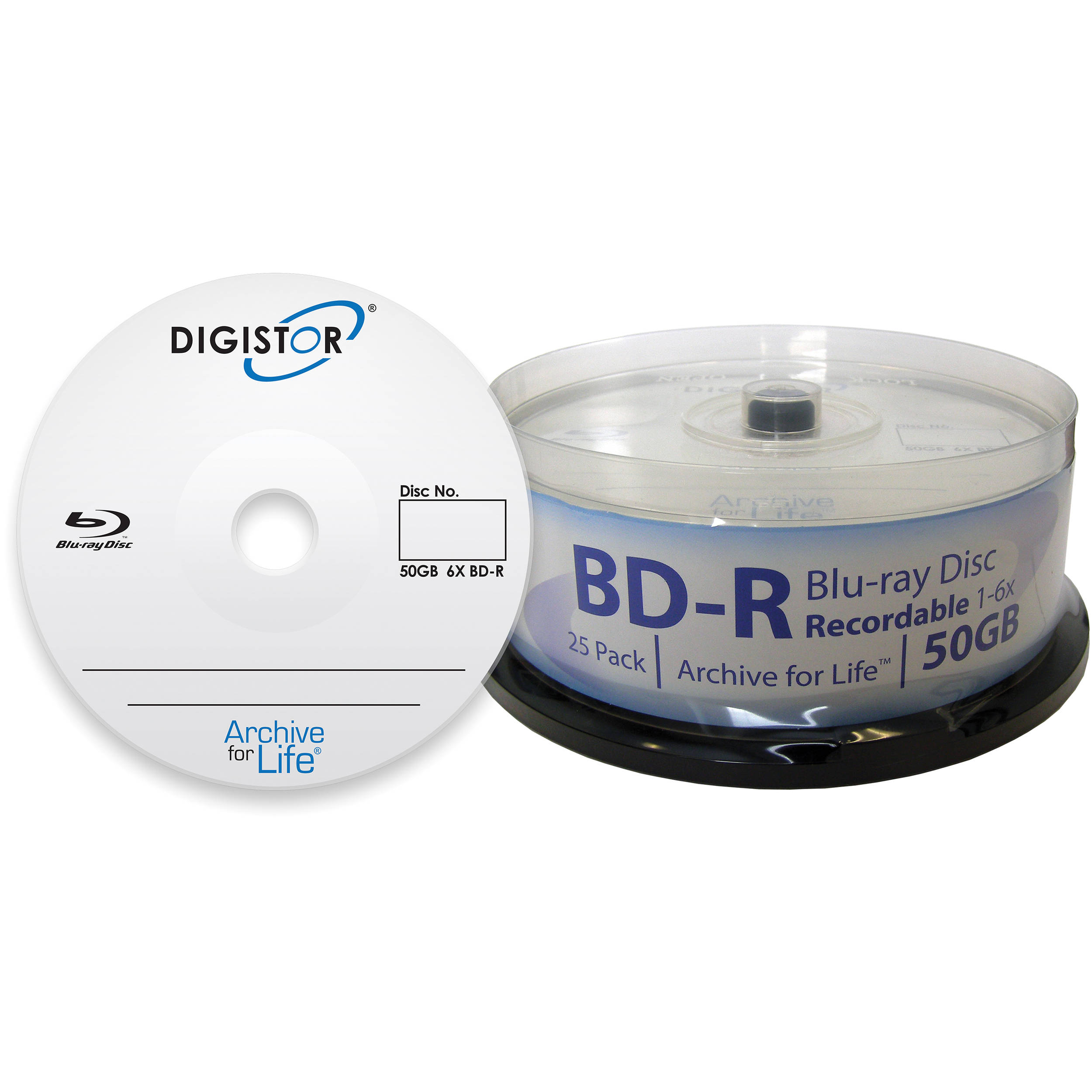 Digistor Archive for Life Recordable Blu-ray Discs (25-Pack, Spindle  Packaging)