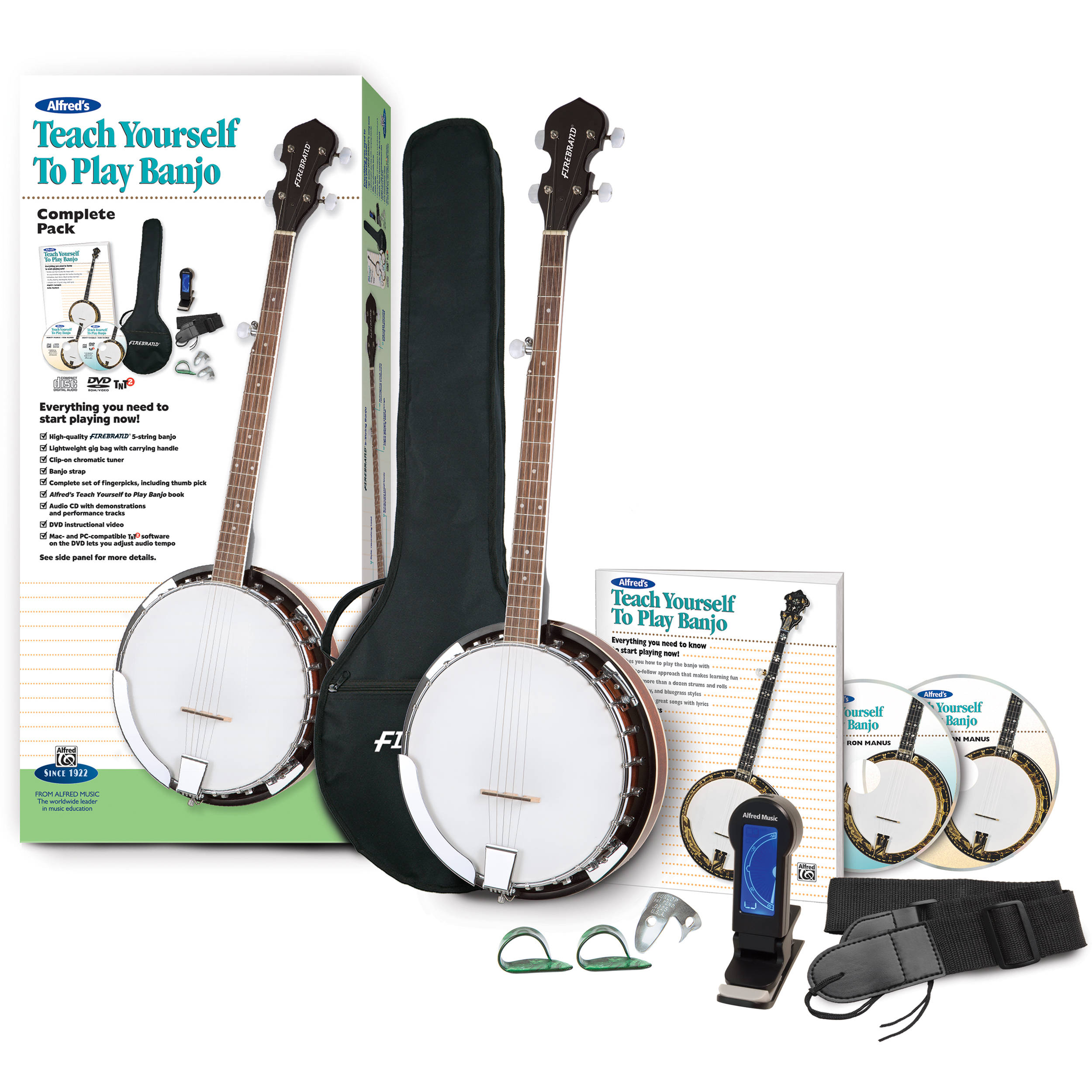 ALFRED Teach Yourself To Play Banjo Starter Pack - Firebrand Banjo &  Instructional Book