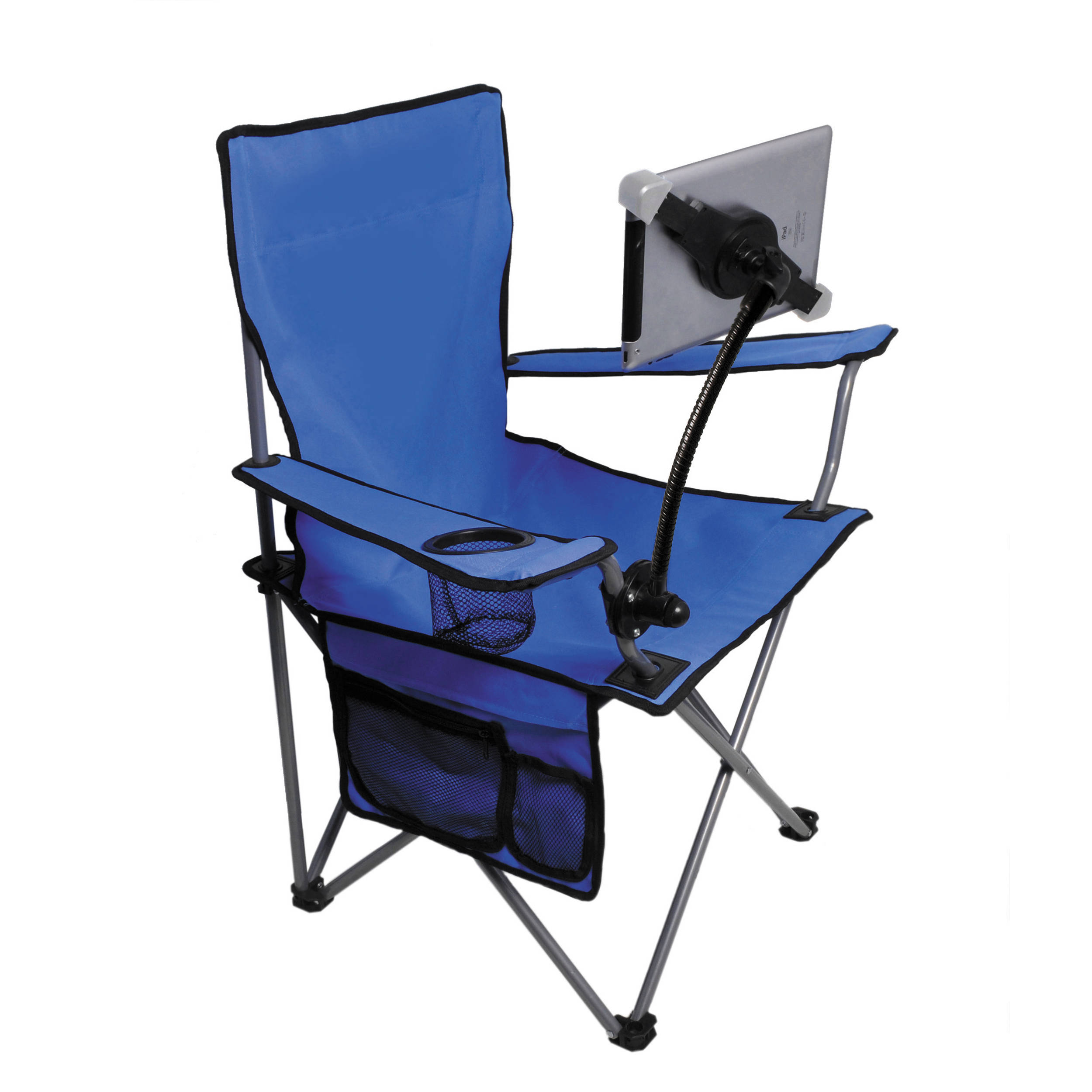 Cta Digital Folding Lawn Chair With Adjustable Universal Tablet Stand For Ipad Tablet