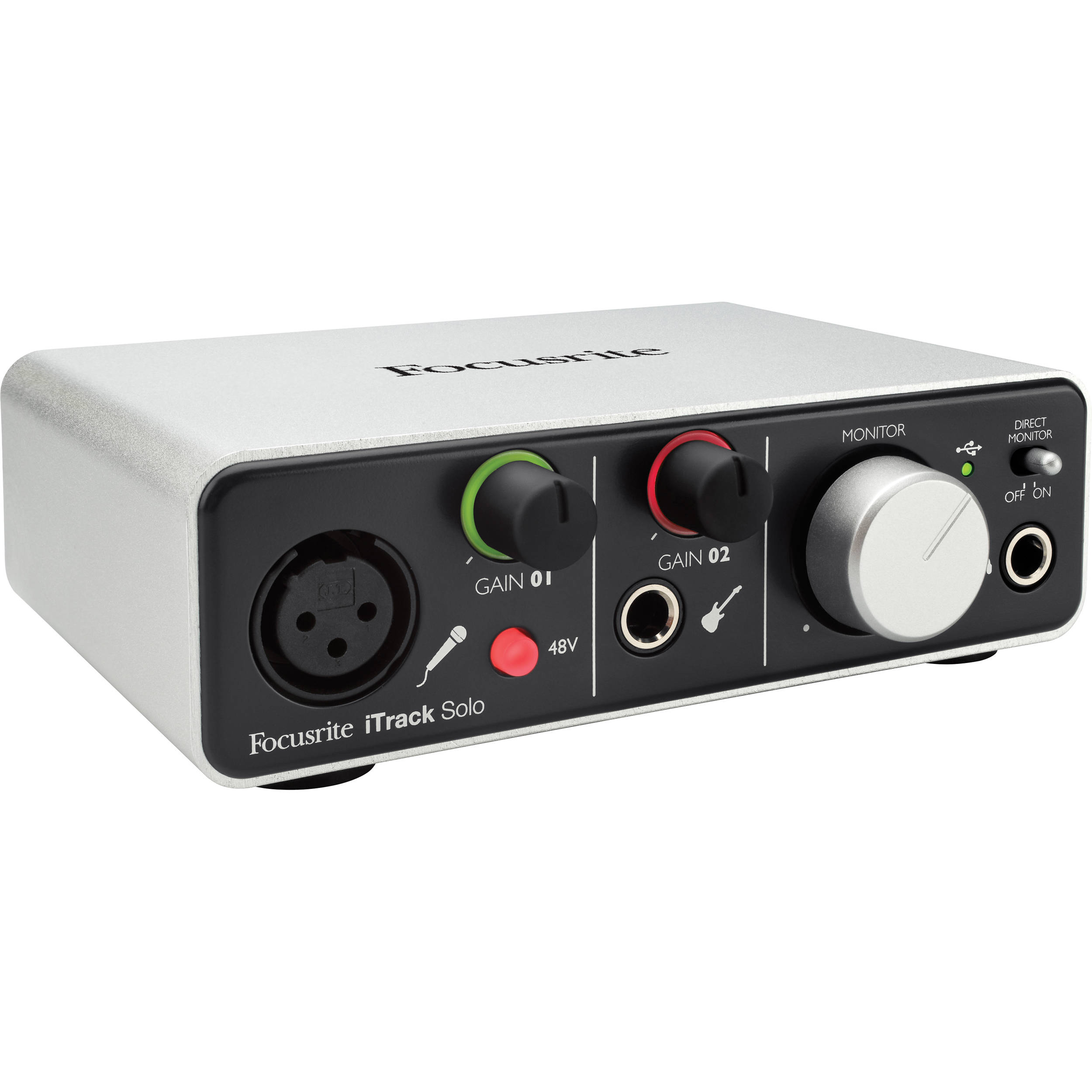 Focusrite iTrack Solo (Lightning) - USB 2 0 Audio Interface for Compatible  iPad, Mac, PC