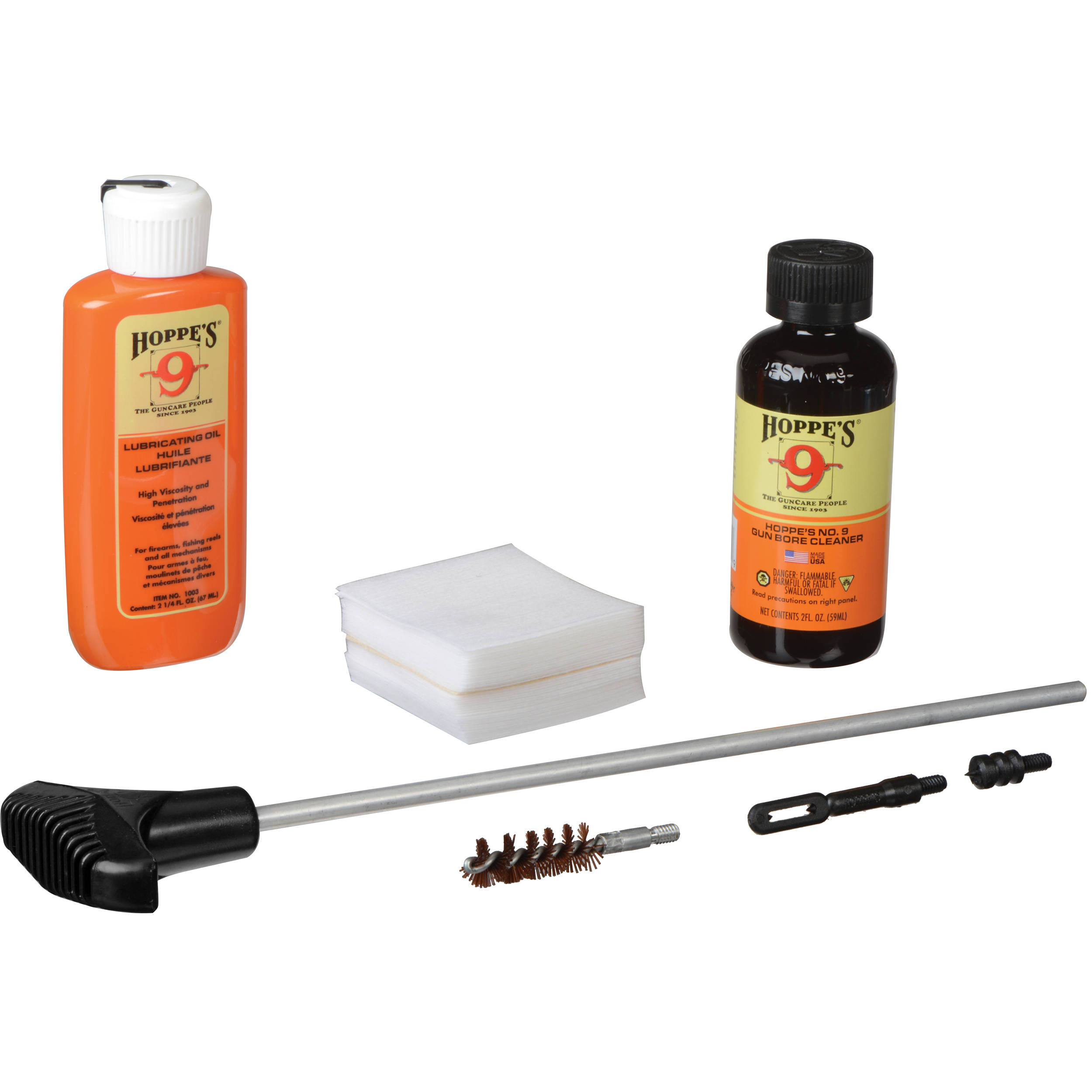Hoppes Pistol Cleaning Kit with Aluminum Rod for  38,  357, and 9mm (Box)