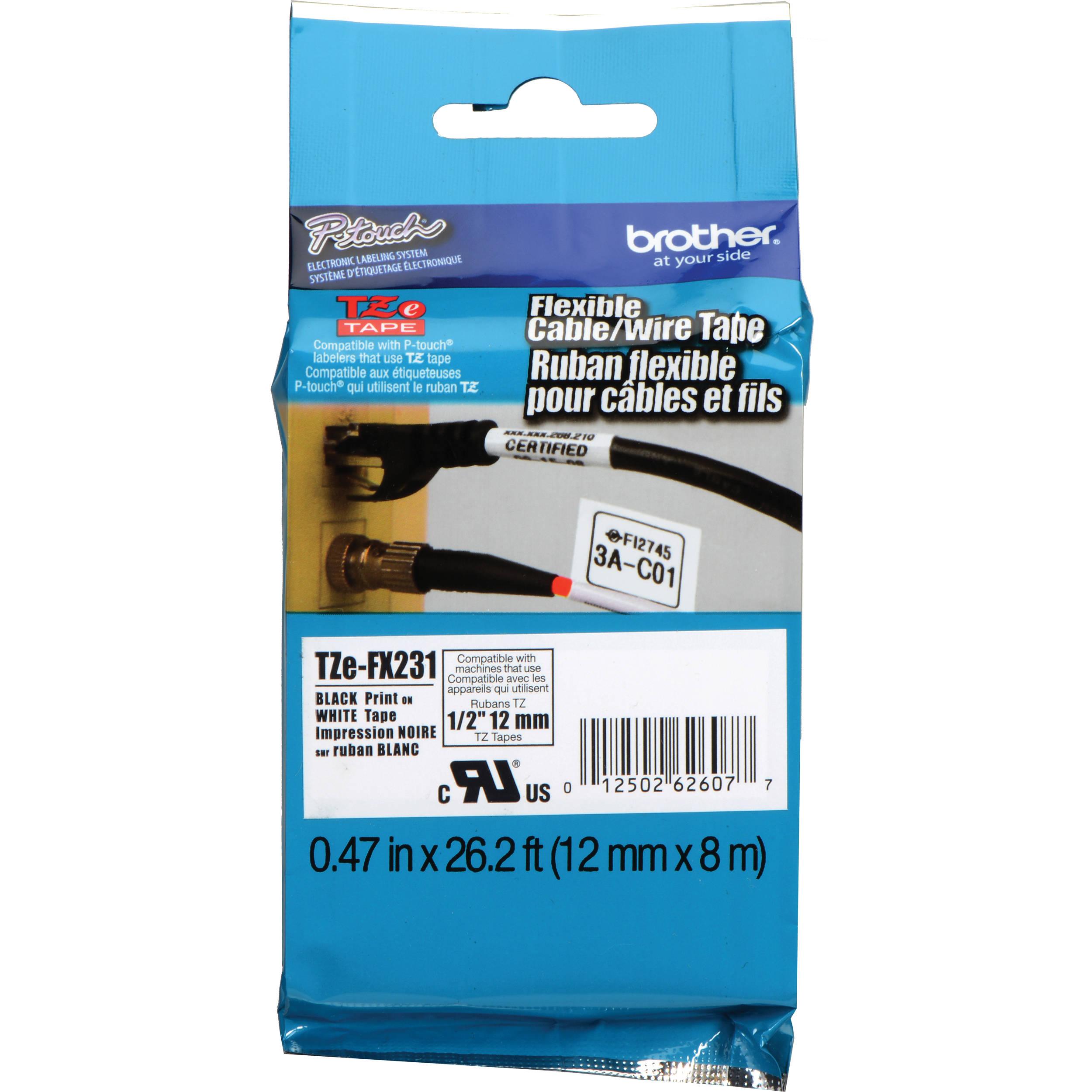 "TZe-FX231 1//2/"" x 26.2/' Black on White Tape Flexible TZeFX231 for Brother Ptouch"