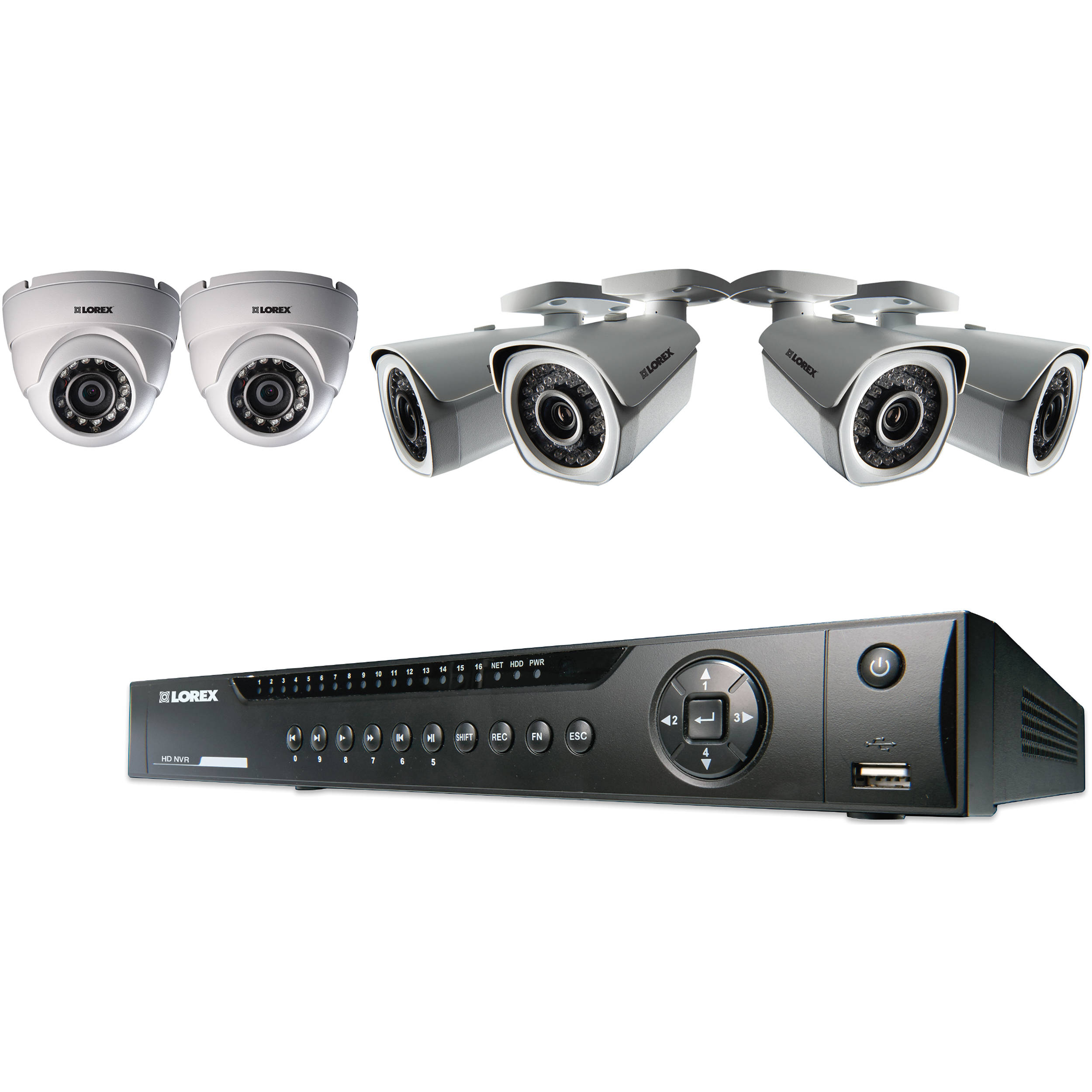 Lorex 8-Ch NVR with 4 Bullet & 2 Dome Cameras