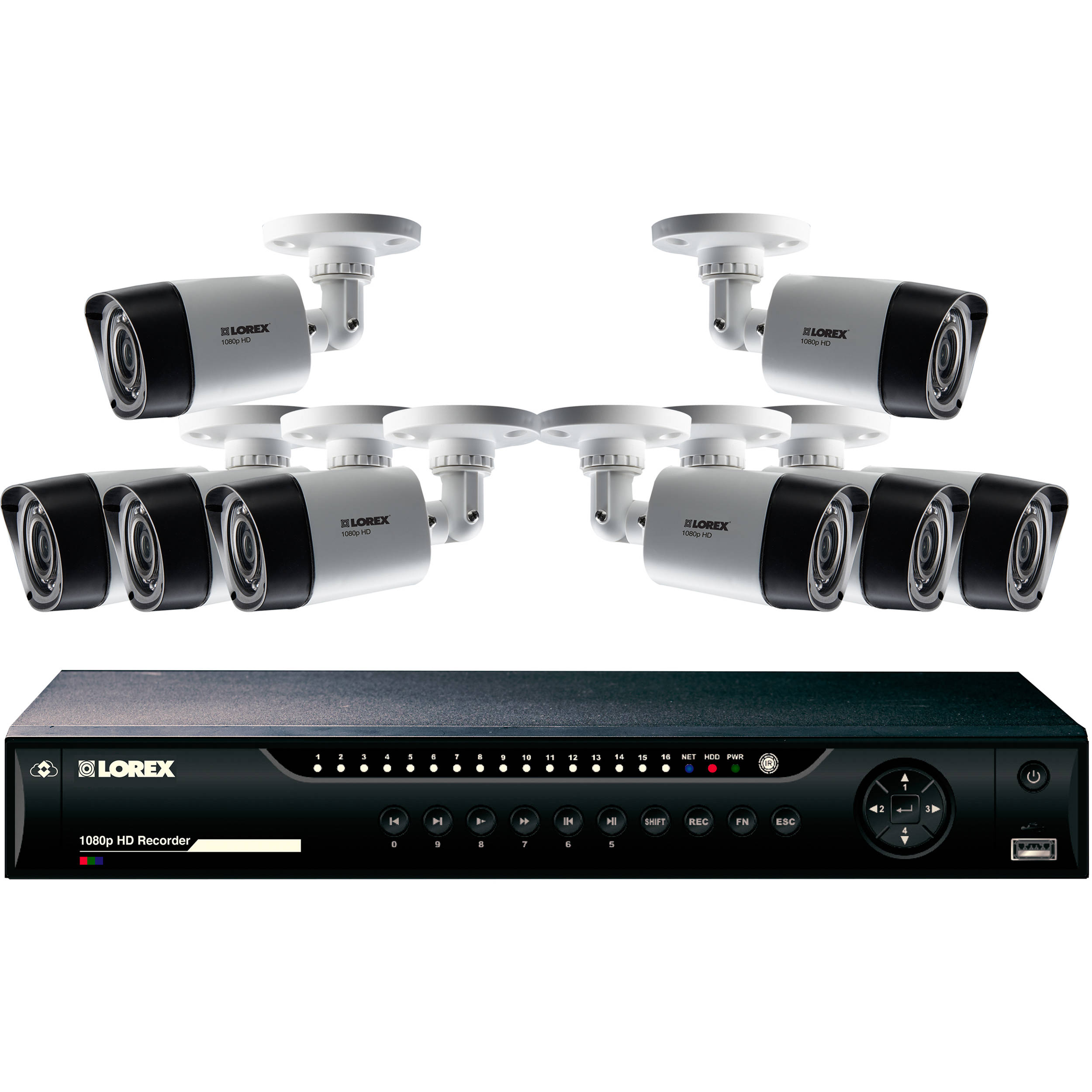 Lorex 16-Channel 1080p DVR with 2TB HDD and 8 1080p Bullet Cameras