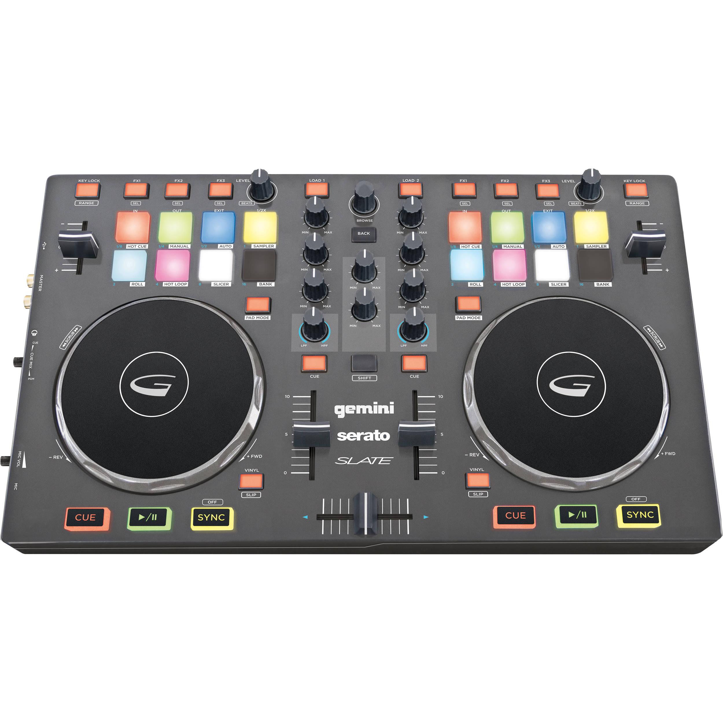 Gemini SLATE 2-Channel Slim Virtual DJ Controller with Serato DJ Intro