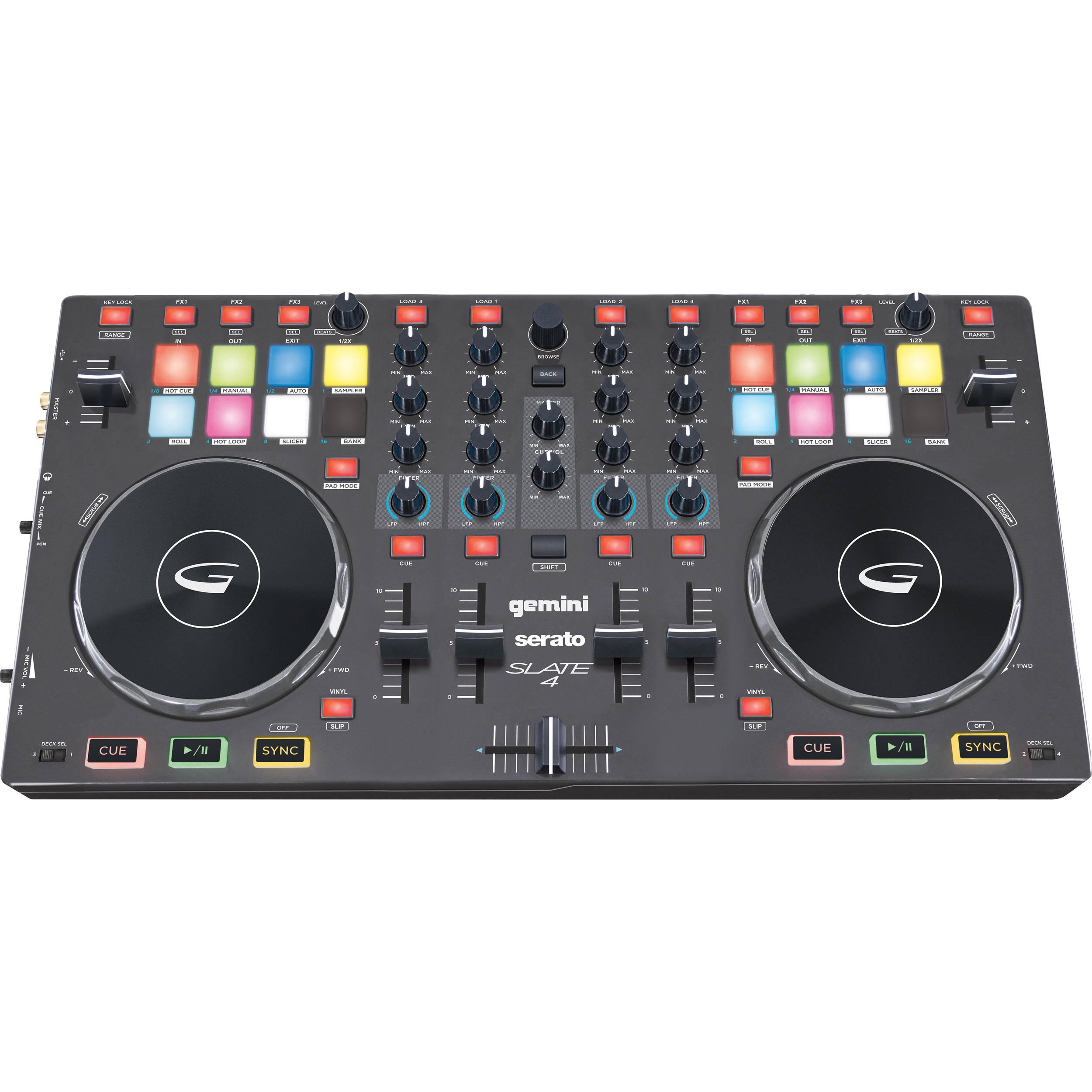 Gemini SLATE 4 4-Channel Slim Virtual DJ with Serato DJ Intro