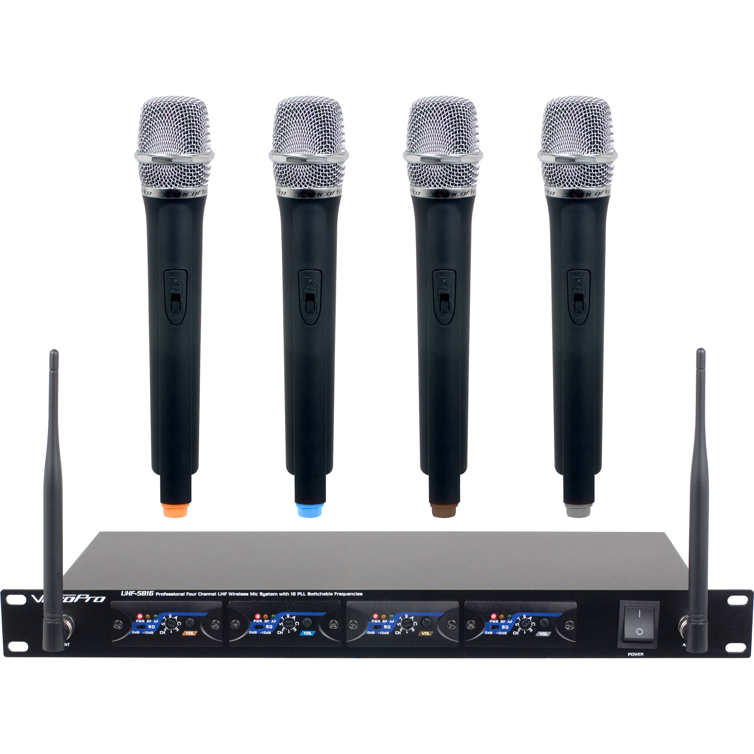 VocoPro UHF-5816-T1 4-Channel UHF Wireless Microphone System with Channel 1  Pre-Tuned