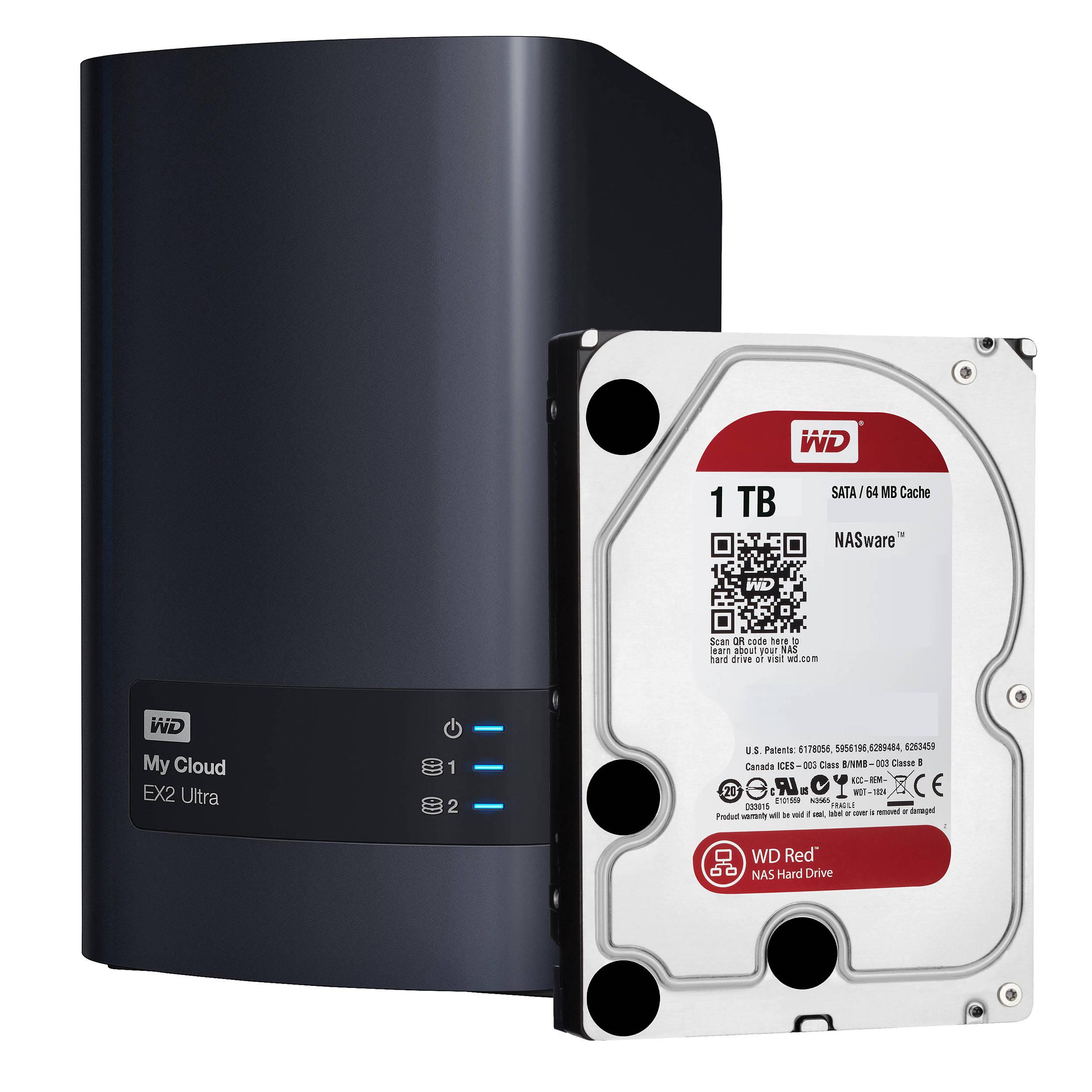 WD My Cloud EX2 Ultra 2TB 2-Bay Personal Storage Server Kit with Drives (2  x 1TB)
