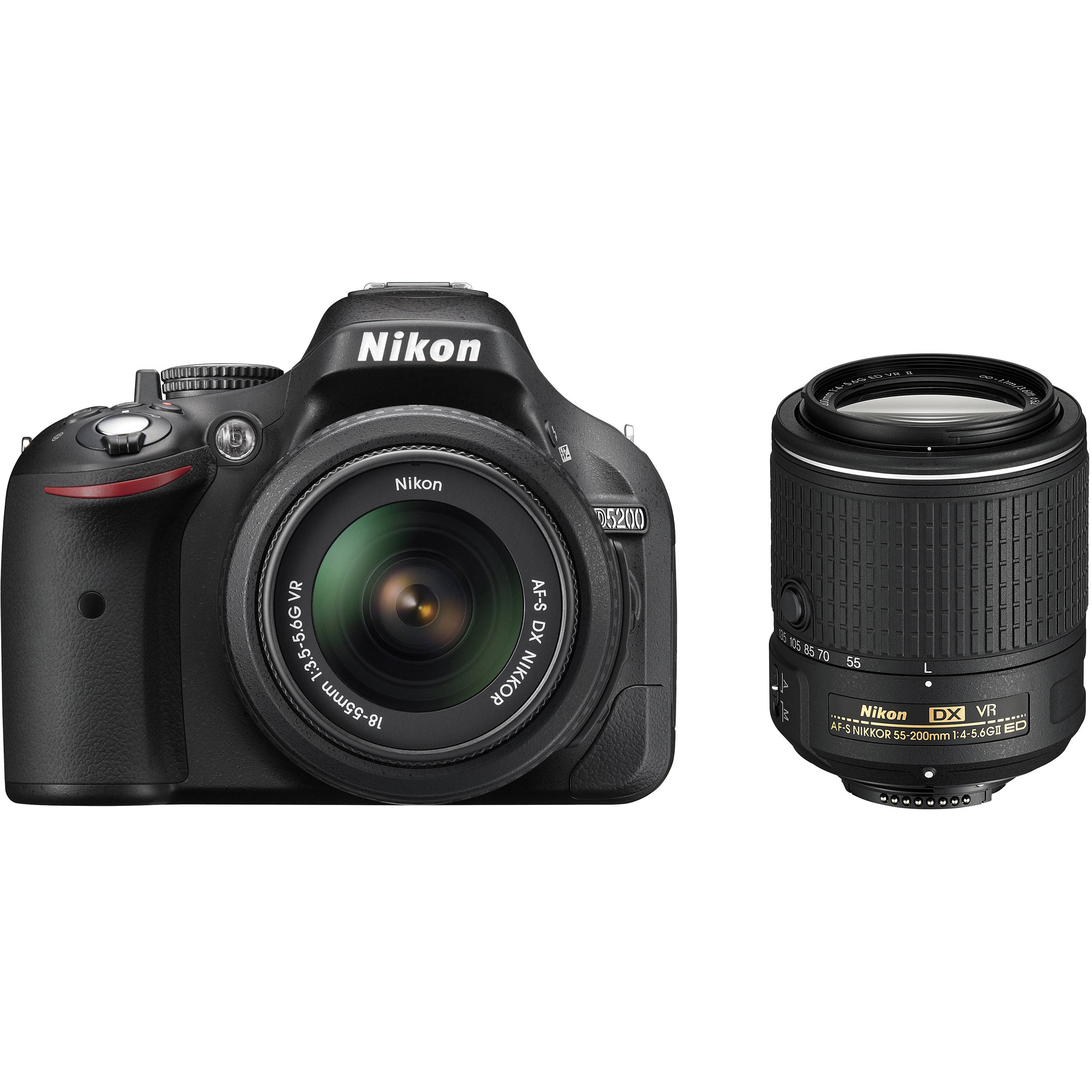 Nikon D5200 Dslr Camera With 18 55mm And 55 200mm Lenses Black