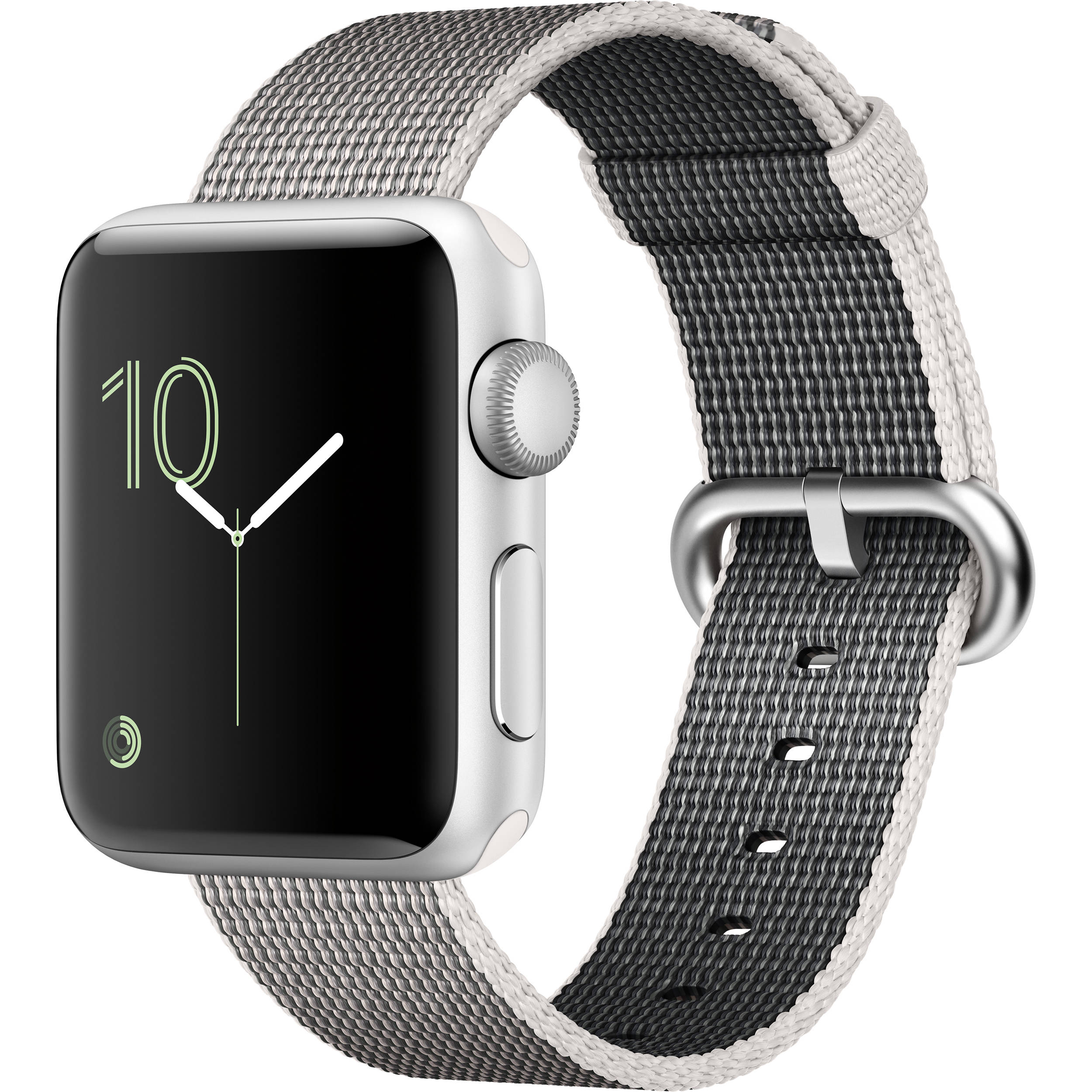 low priced 60fc4 edf78 Apple Watch Series 2 38mm Smartwatch (Silver Aluminum Case, Pearl Woven  Nylon Band)
