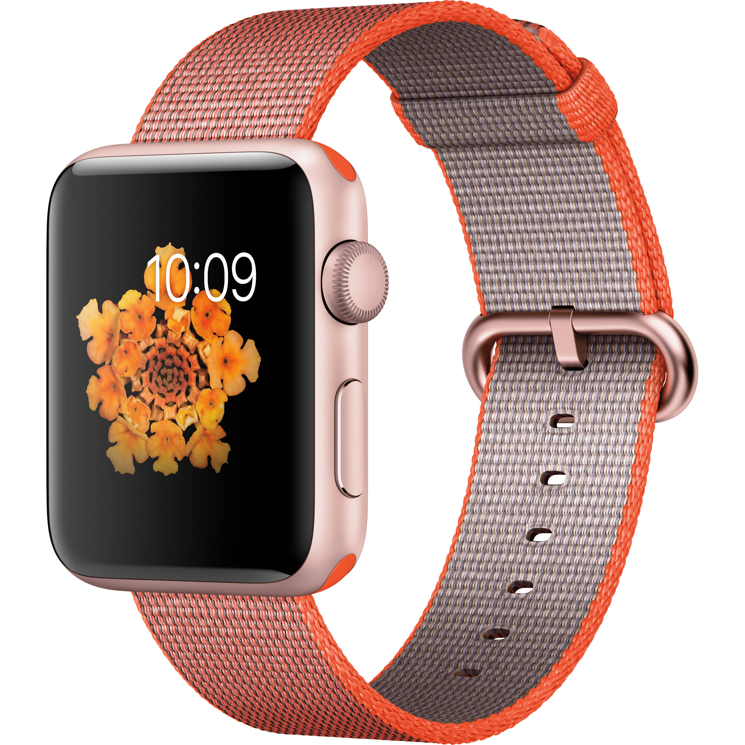 reputable site 05317 51807 Apple Watch Series 2 42mm Smartwatch (Rose Gold Aluminum Case, Sport  Orange/Anthracite Woven Nylon Band)