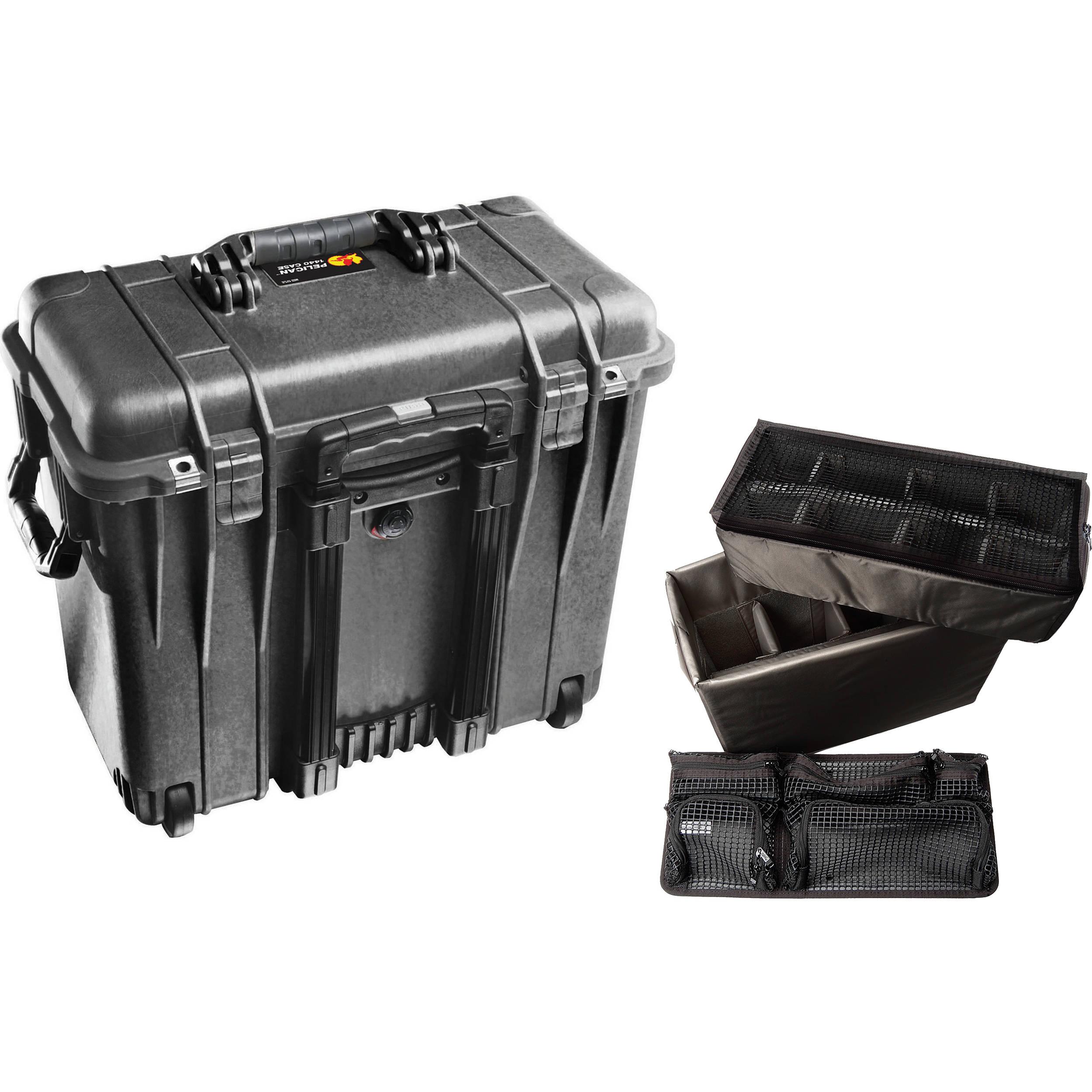 d89305c57cf0 Pelican 1440 Wheeled Top Loader Case with Utility Padded Divider Set and  Lid Organizer (Black)