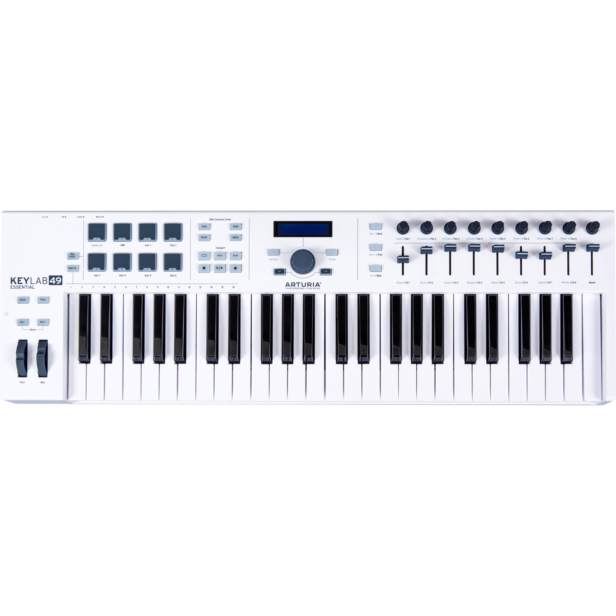 Arturia KeyLab Essential 49 - Universal MIDI Controller and Software (White)