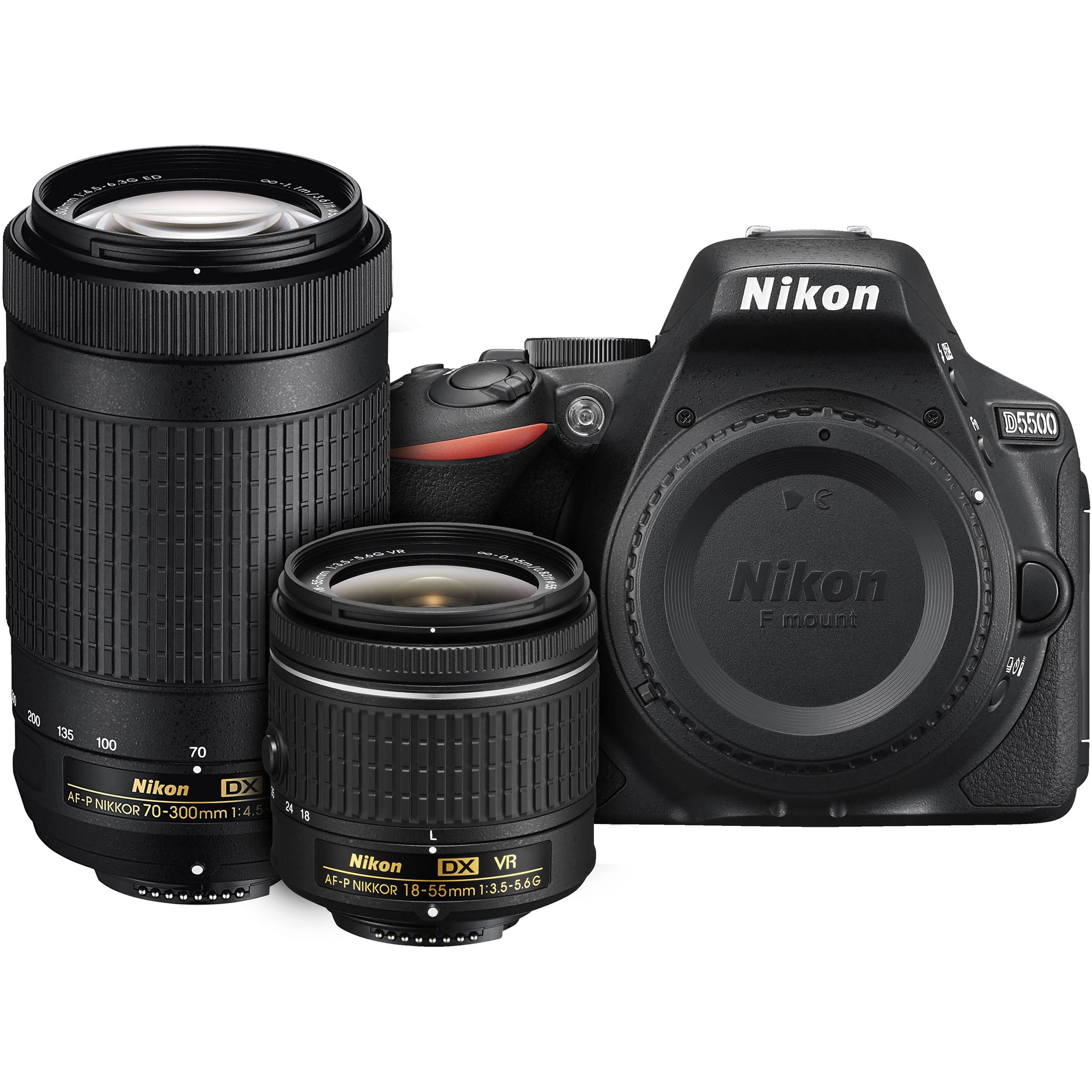 Nikon D5500 DSLR Camera with AF-P 18-55mm VR and 70-300mm Lenses (Black)