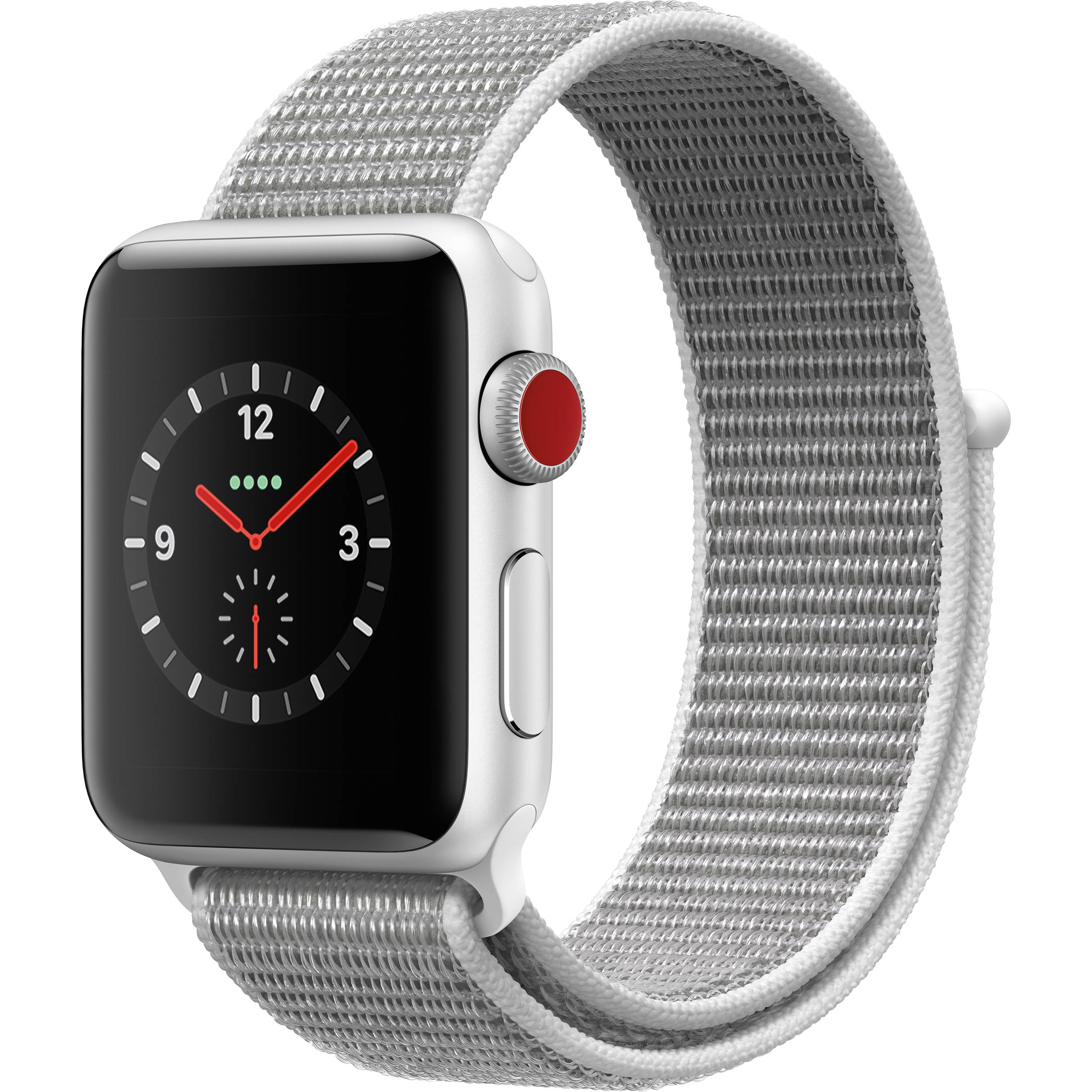 san francisco 9bbdc cb72e Apple Watch Series 3 38mm Smartwatch (GPS + Cellular, Silver Aluminum Case,  Seashell Sport Loop)