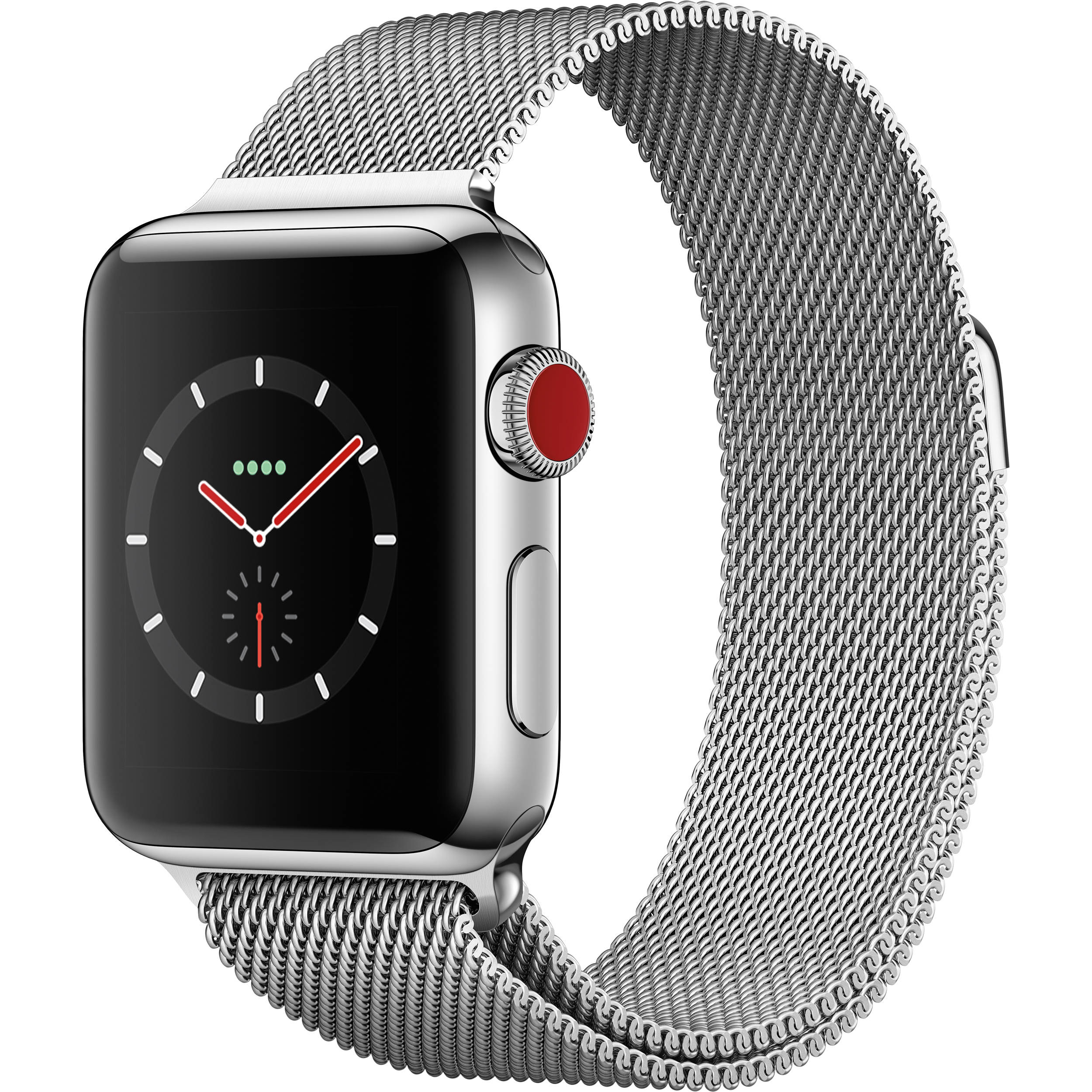 Apple Watch Series 3 38mm Smartwatch (GPS + Cellular, Stainless Steel Case,  Stainless Steel Milanese Loop)