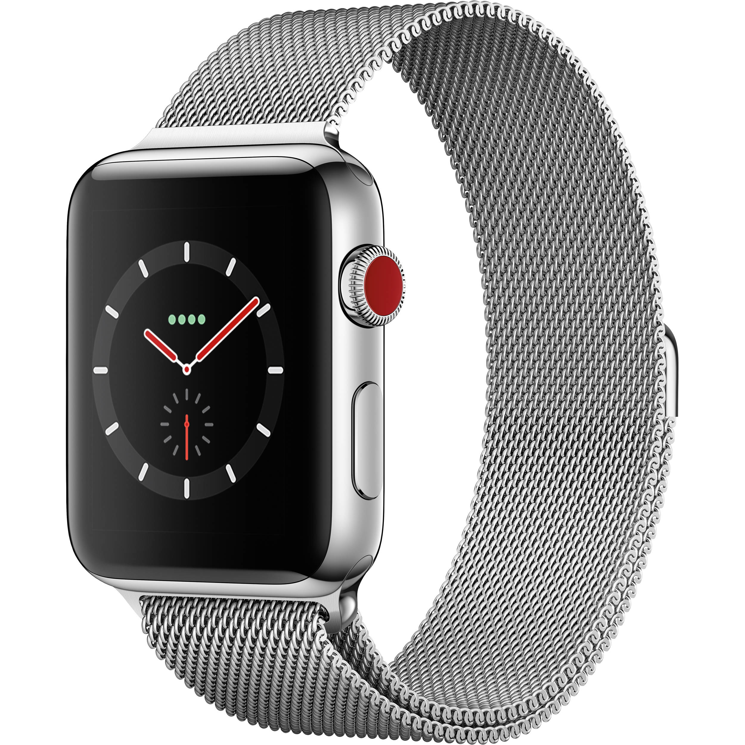 san francisco e3756 517cd Apple Watch Series 3 42mm Smartwatch (GPS + Cellular, Stainless Steel Case,  Stainless Steel Milanese Loop)