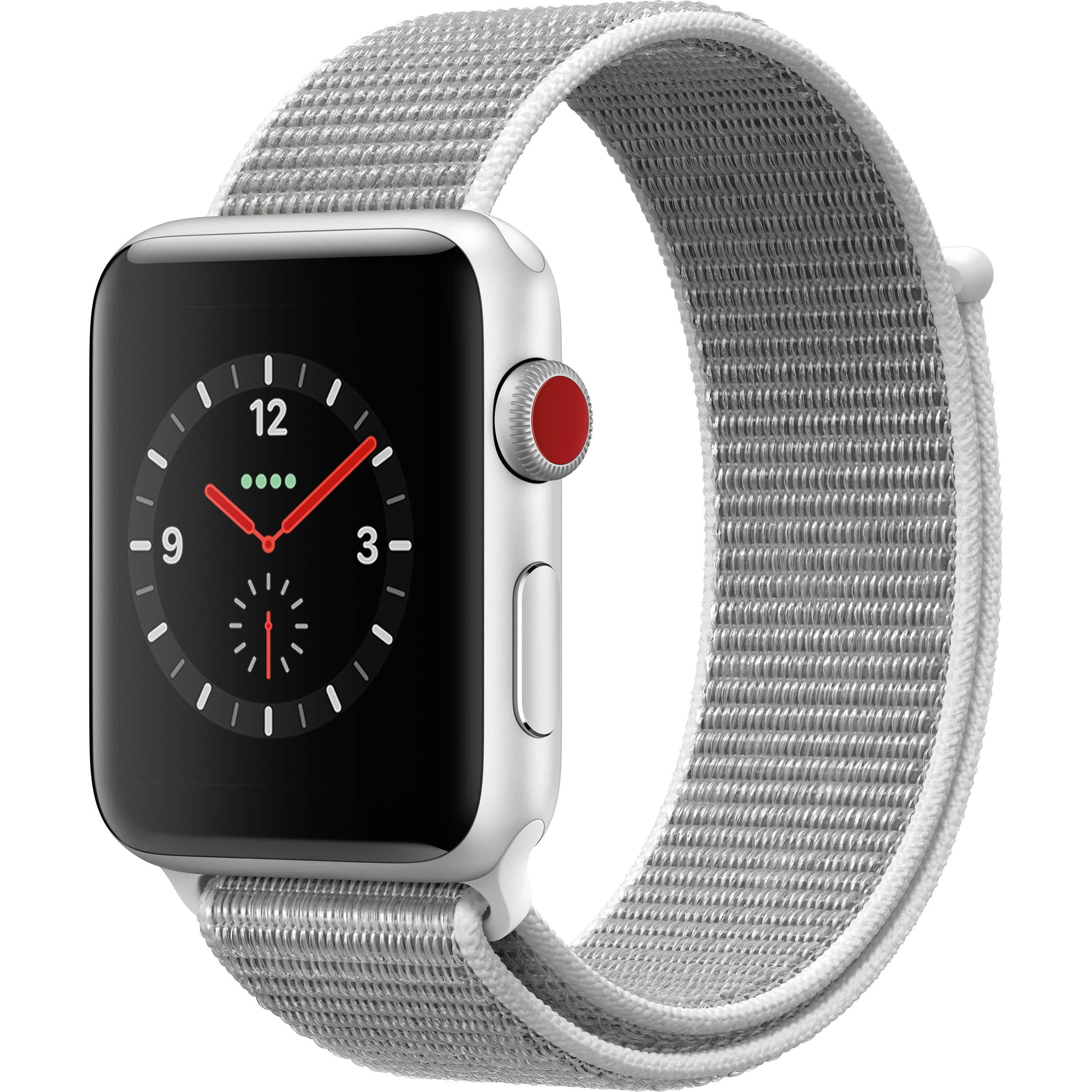pretty nice 484c7 b5df9 Apple Watch Series 3 42mm Smartwatch (GPS + Cellular, Silver Aluminum Case,  Seashell Sport Loop)