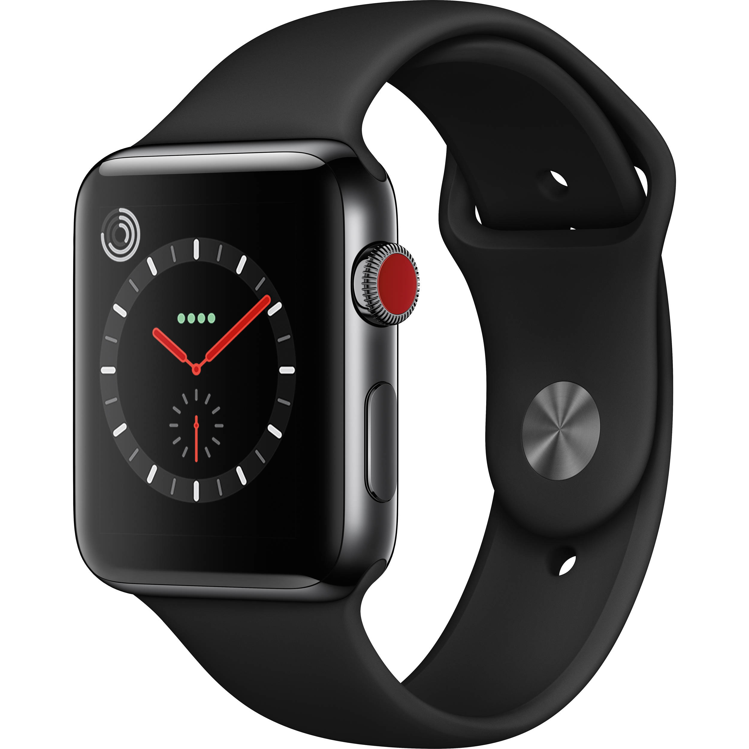 buy online 12ace 47c31 Apple Watch Series 3 42mm Smartwatch (GPS + Cellular, Space Black Stainless  Steel Case, Black Sport Band)