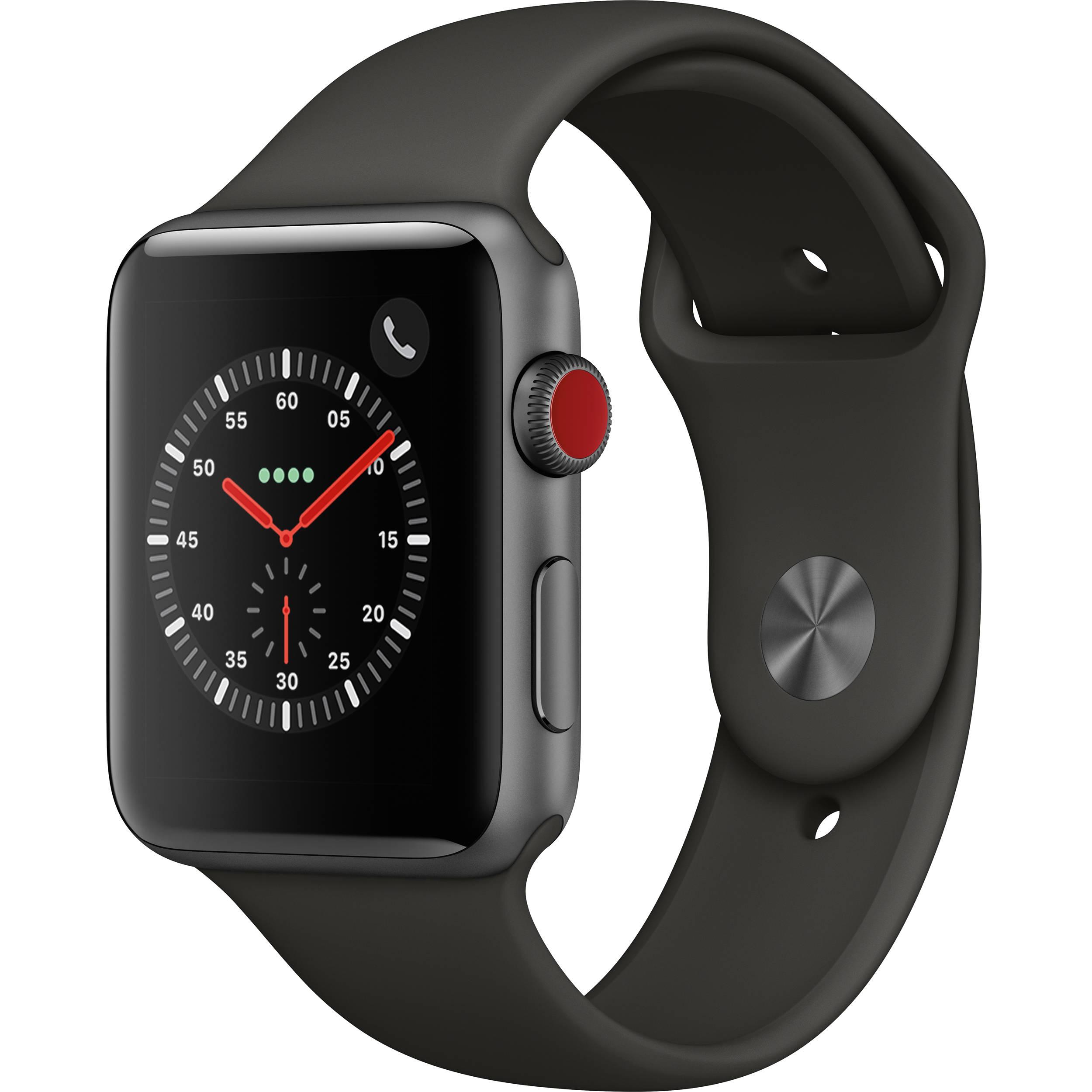 online store 7675d 6b523 Apple Watch Series 3 42mm Smartwatch (GPS + Cellular, Space Gray Aluminum  Case, Gray Sport Band)