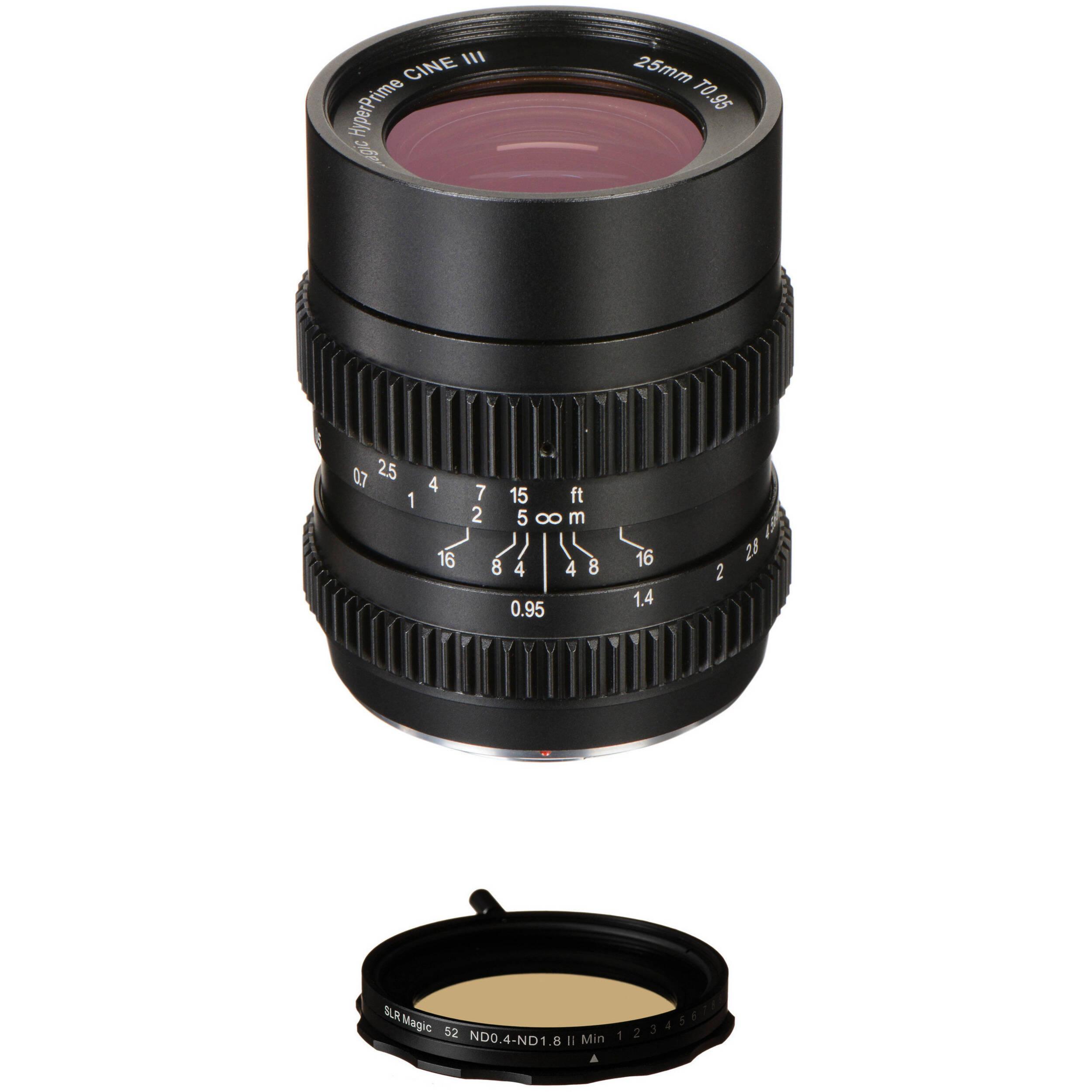 SLR Magic 25mm T0 95 HyperPrime Cine III Lens and Variable ND Kit
