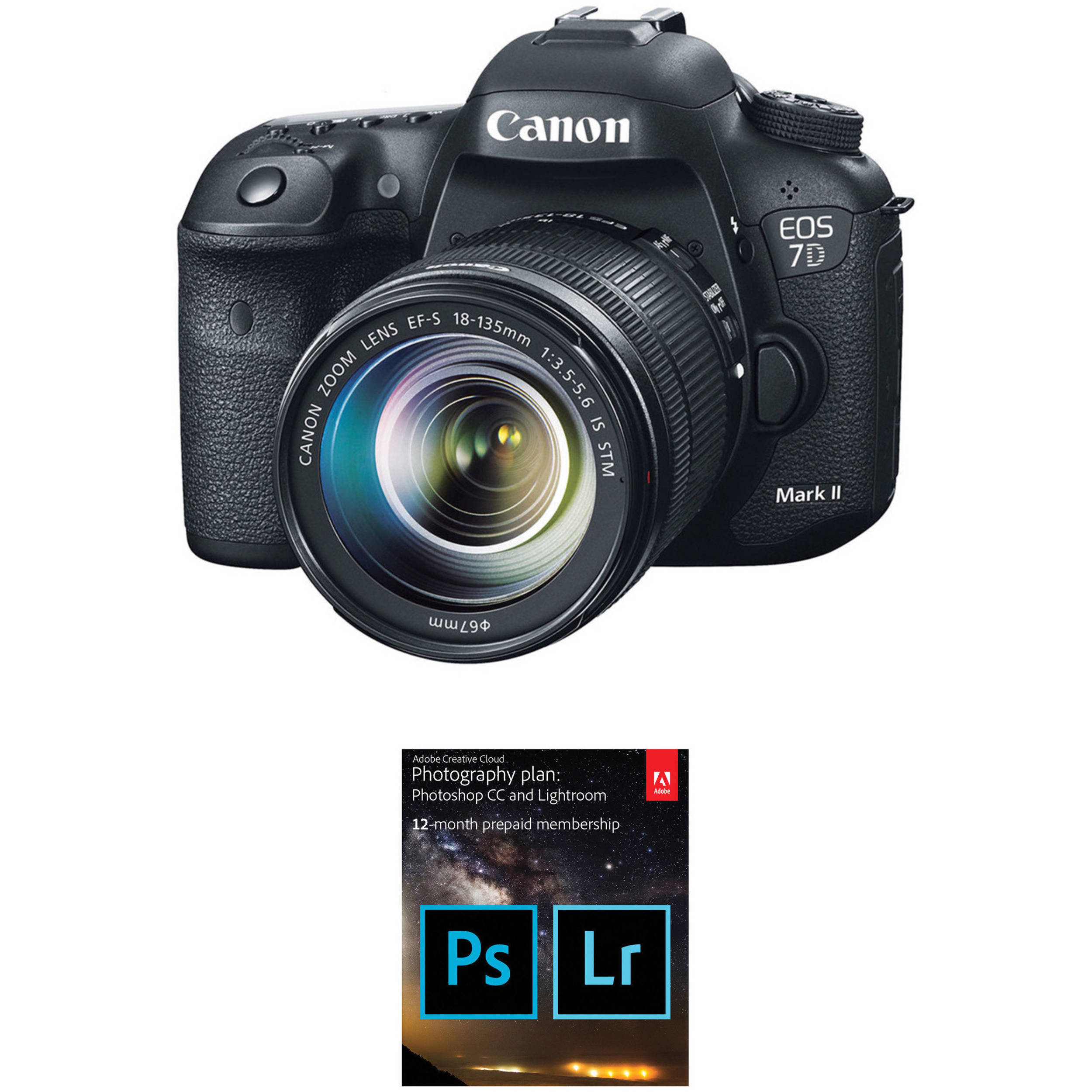 Canon EOS 7D Mark II DSLR Camera with 18-135mm f/3 5-5 6 STM Lens and Adobe  Creative Cloud Photography Plan Kit