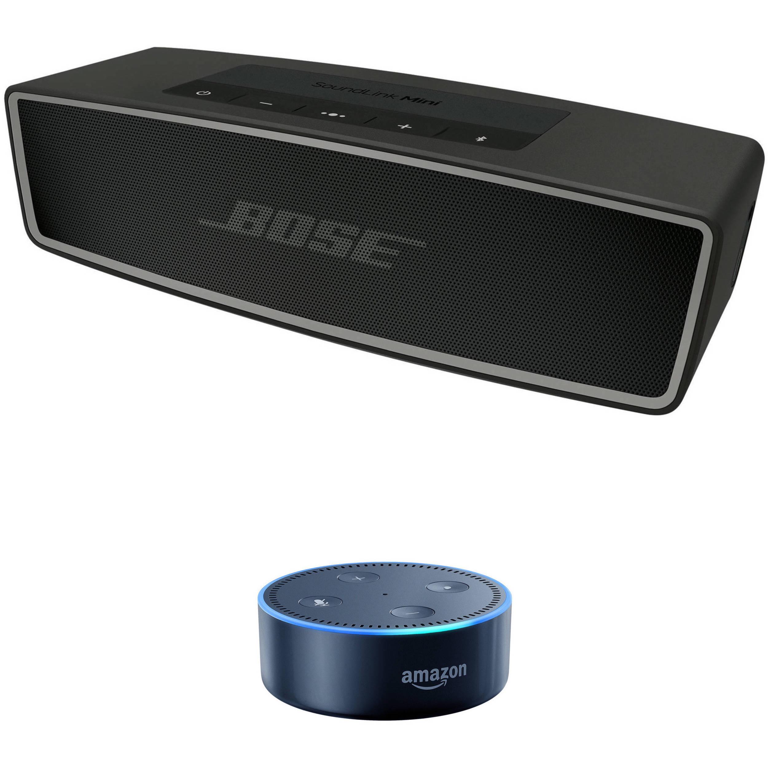 Bose SoundLink Mini Bluetooth Speaker II (Carbon) with Amazon Echo Dot (8nd  Gen, Black) Kit