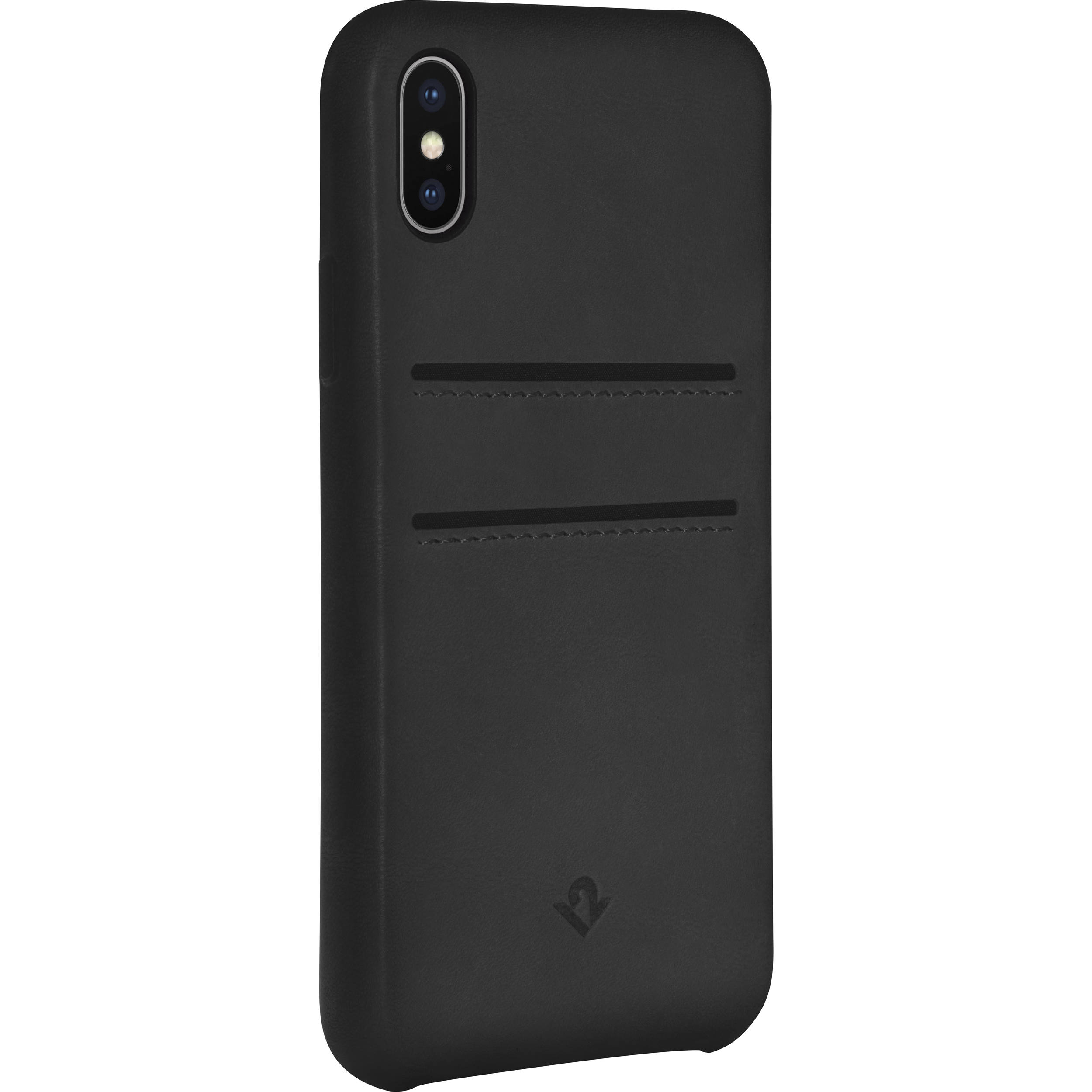 new concept c1b36 c83fa Twelve South Relaxed Leather Case with Pockets for iPhone X/Xs (Black)