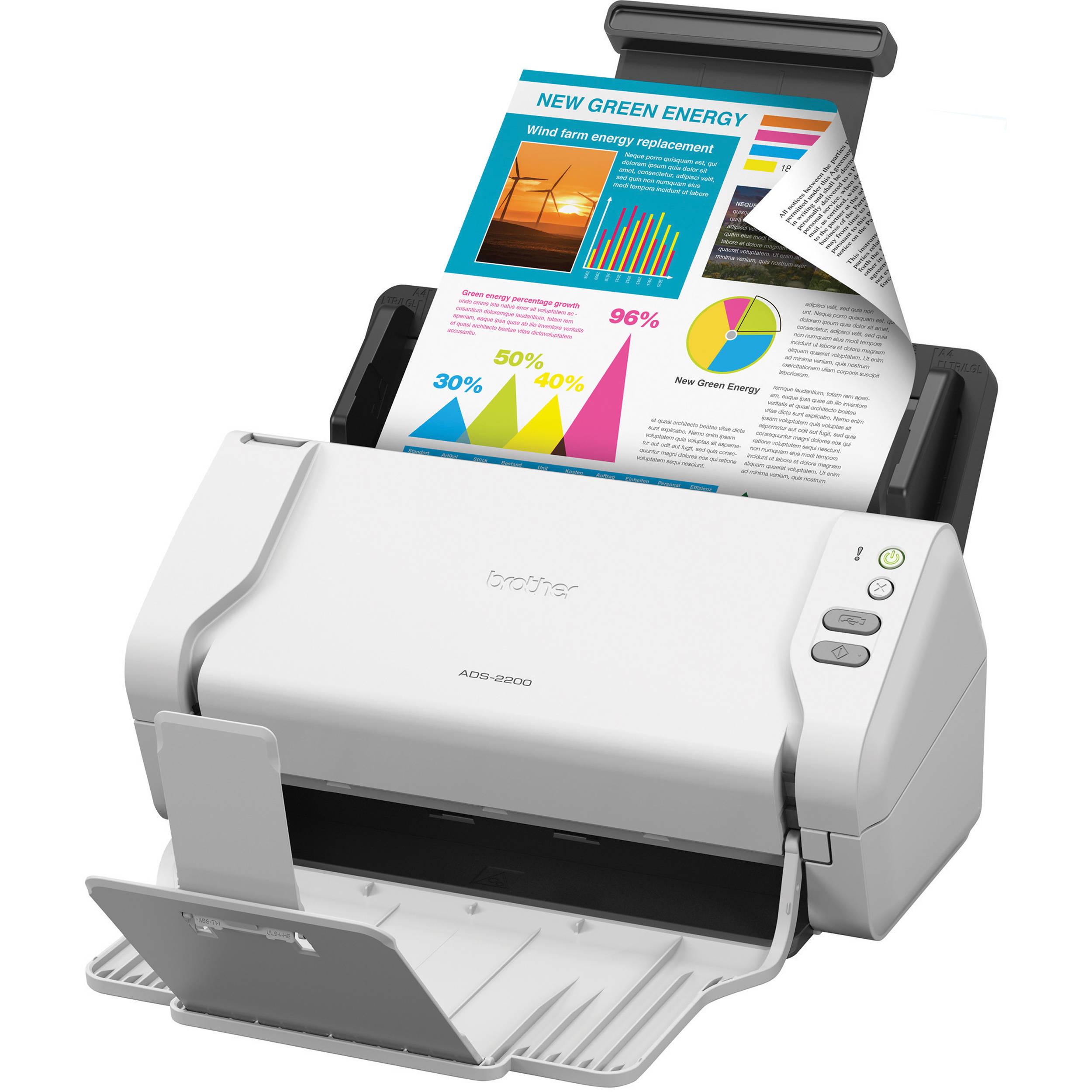 Duplex Scanning Brother High-Speed Desktop Document Scanner ADS-2200 Multiple Scan Destinations