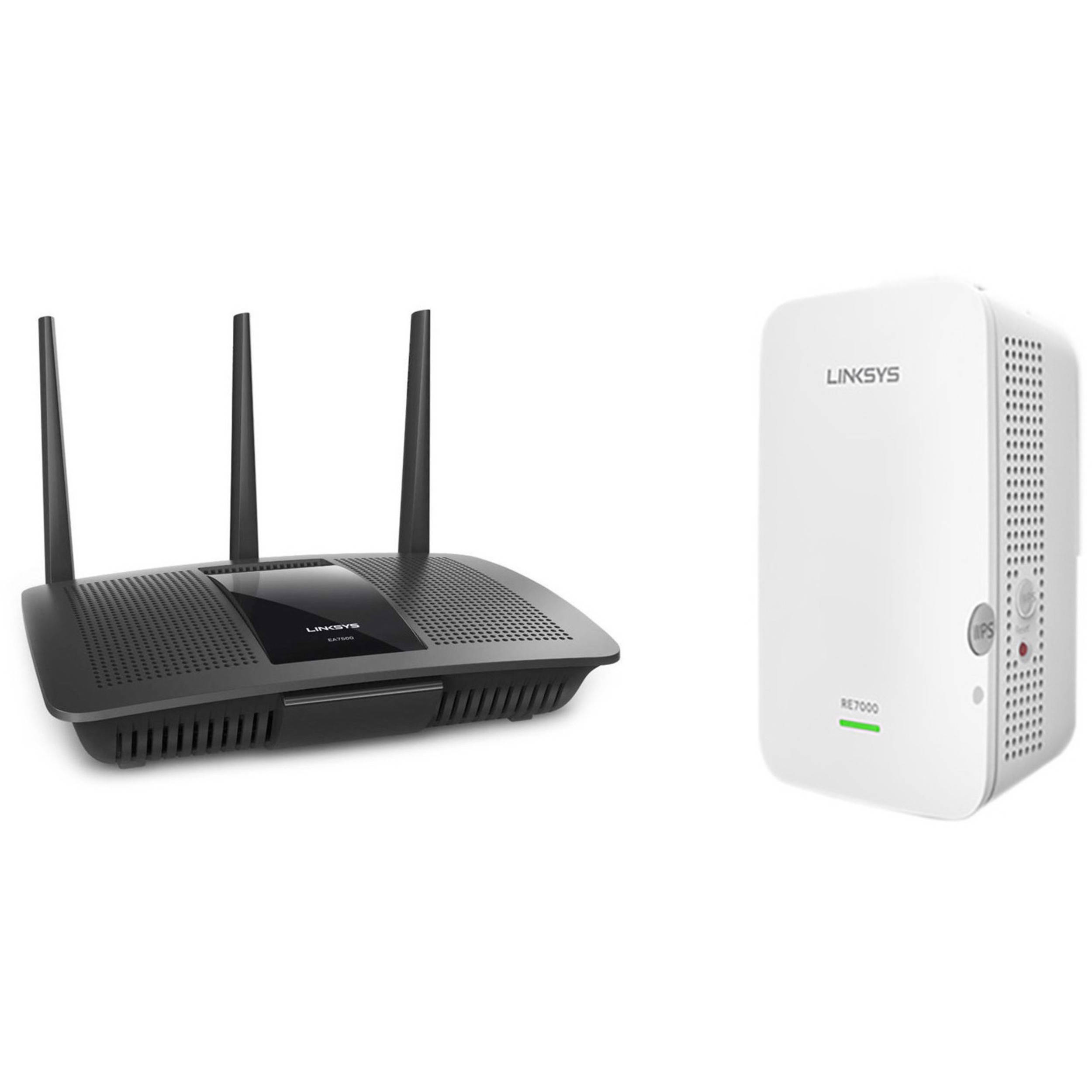 Linksys EA7500 Max-Stream Dual-Band Wireless-AC1900 Gigabit Router Kit with  MAX STREAM Dual-Band Range Extender