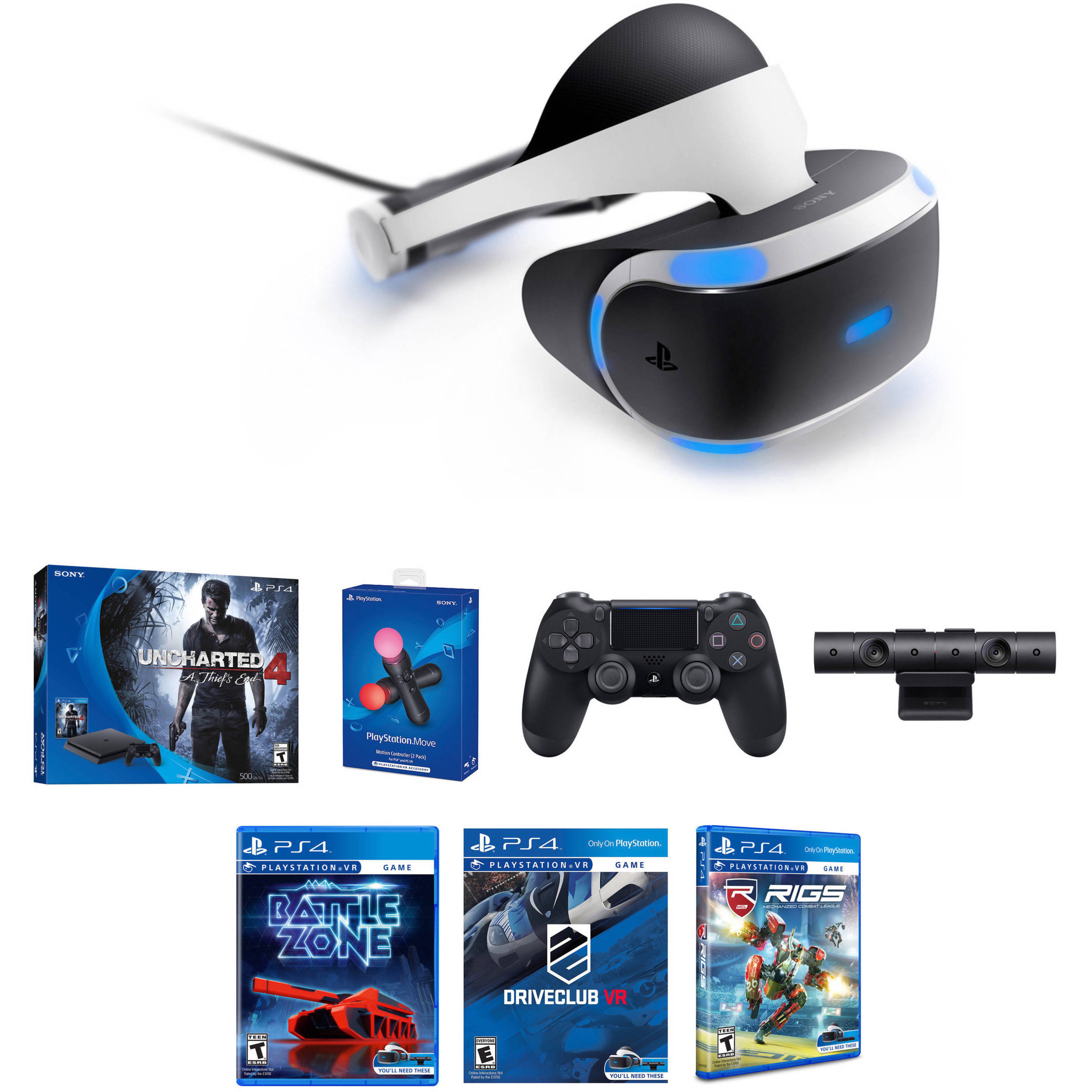 Sony Playstation Vr Bundle With Playstation 4 Slim Uncharted 4