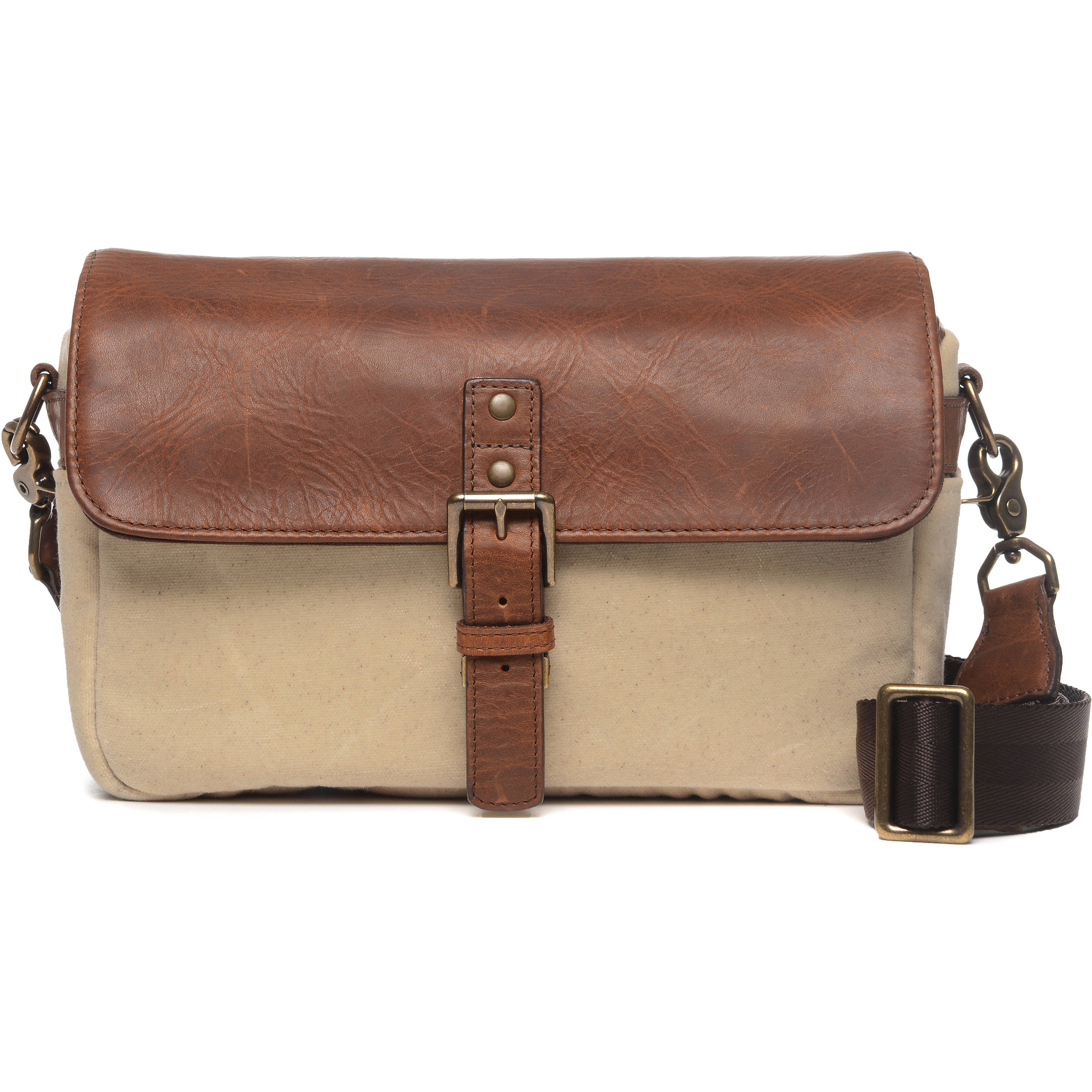 Ona Bowery 50 Camera Bag Leather Canvas Natural Antique Cognac