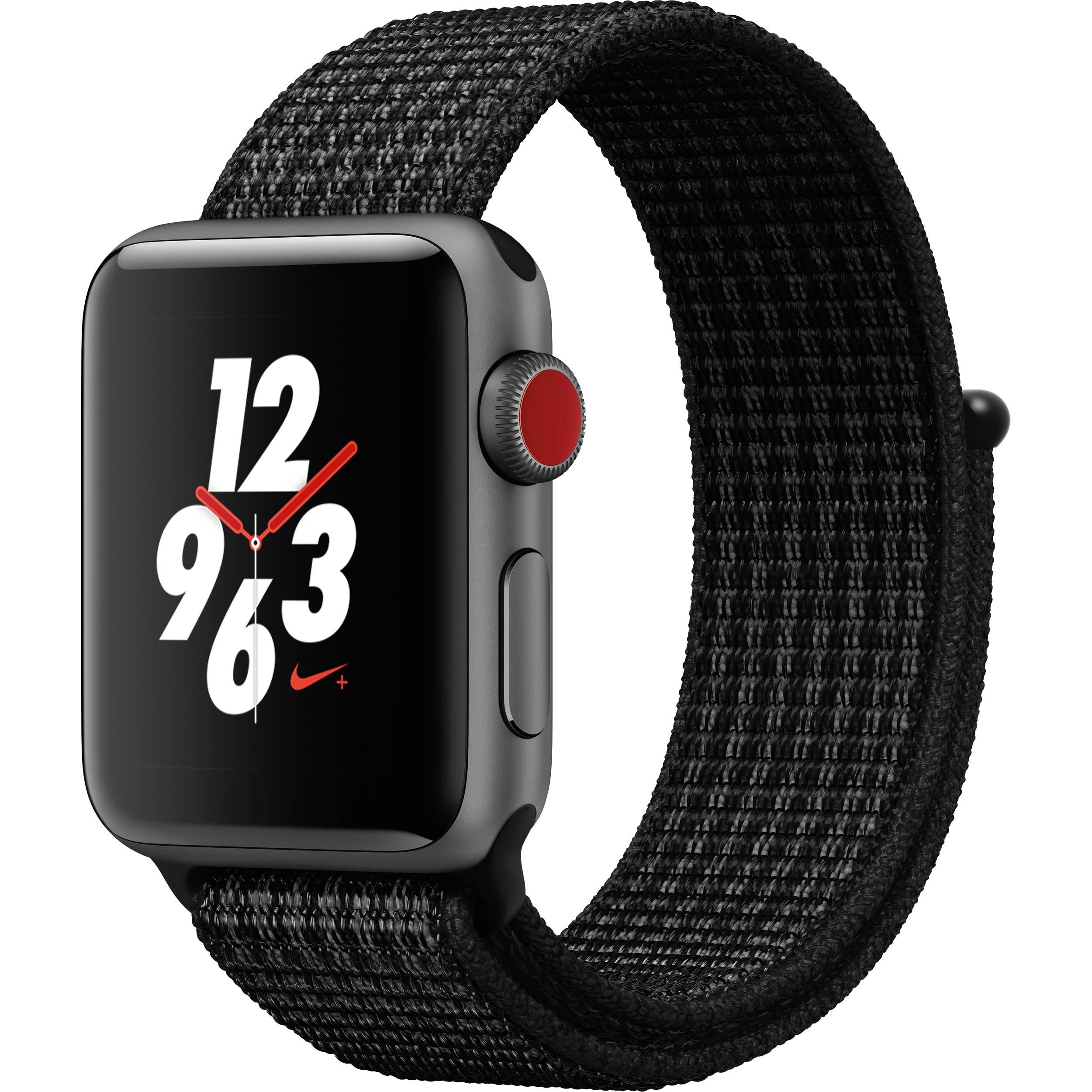 Apple Watch Nike+ Series 3 38mm Smartwatch (GPS + Cellular, Space Gray  Aluminum Case, Black/Pure Platinum Nike Sport Loop)