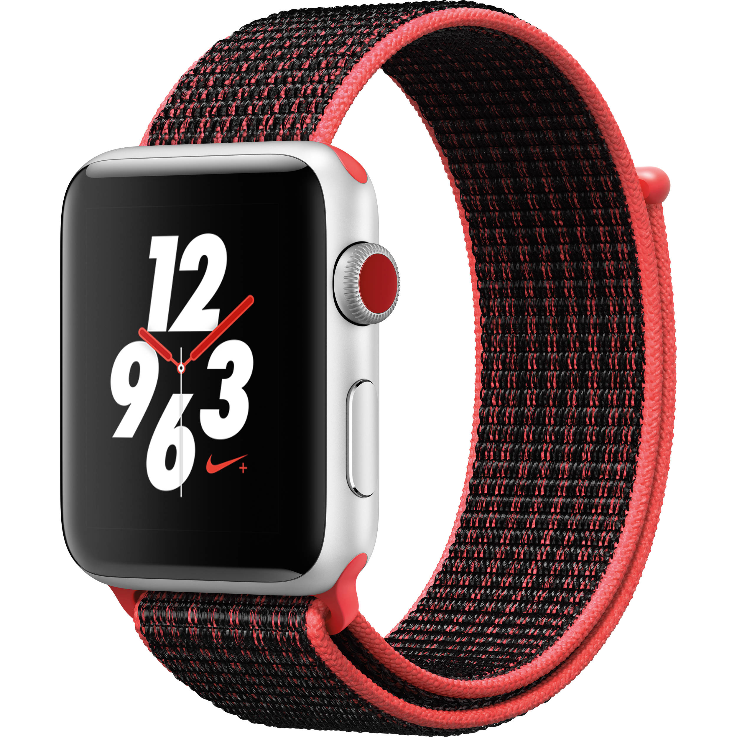outlet store 0ee81 34ee3 Apple Watch Nike+ Series 3 42mm Smartwatch (GPS + Cellular, Silver Aluminum  Case, Bright Crimson/Black Nike Sport Loop)