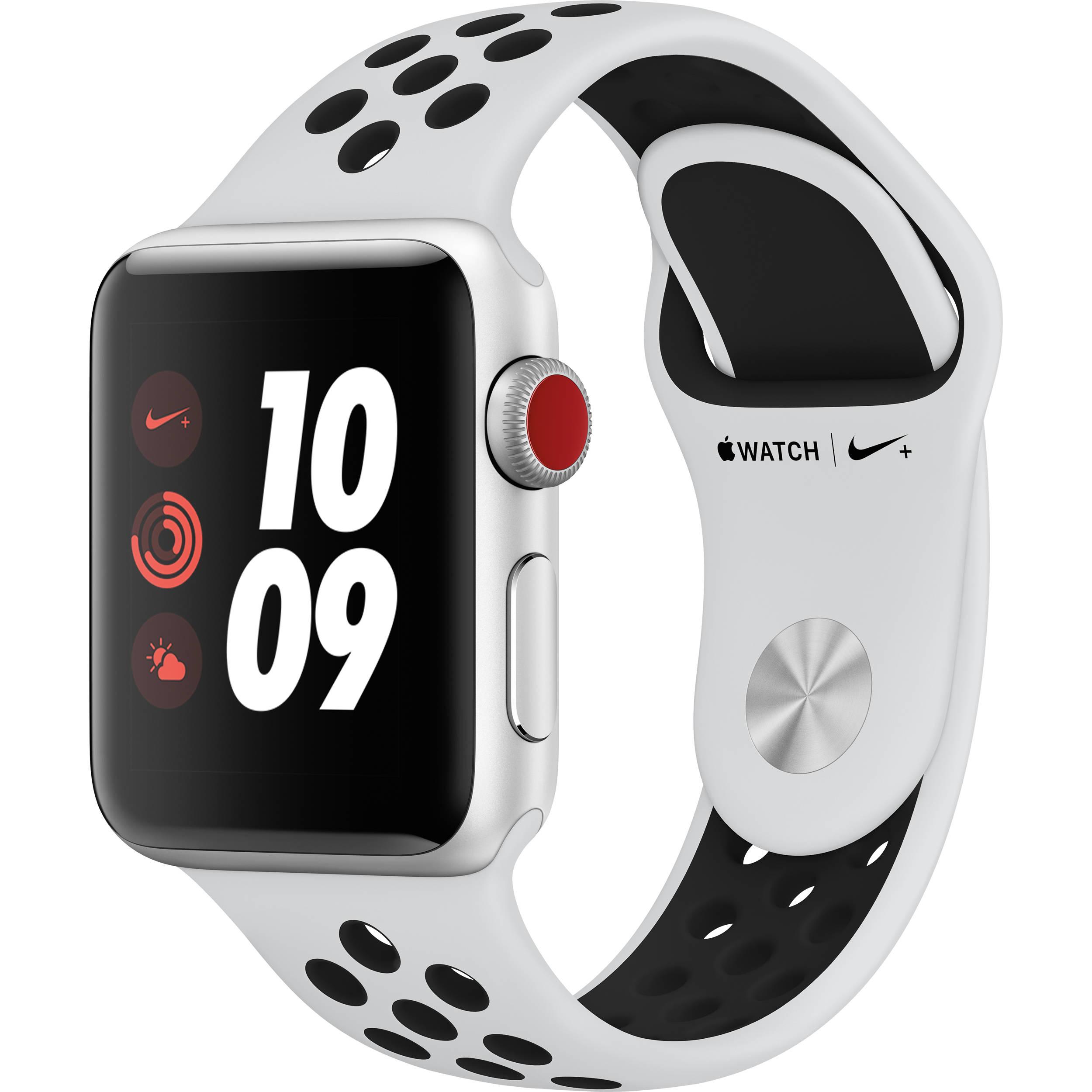 Apple Watch Nike+ Series 3 38mm Smartwatch (GPS + Cellular, Silver Aluminum  Case, Pure Platinum/Black Nike Sport Band)