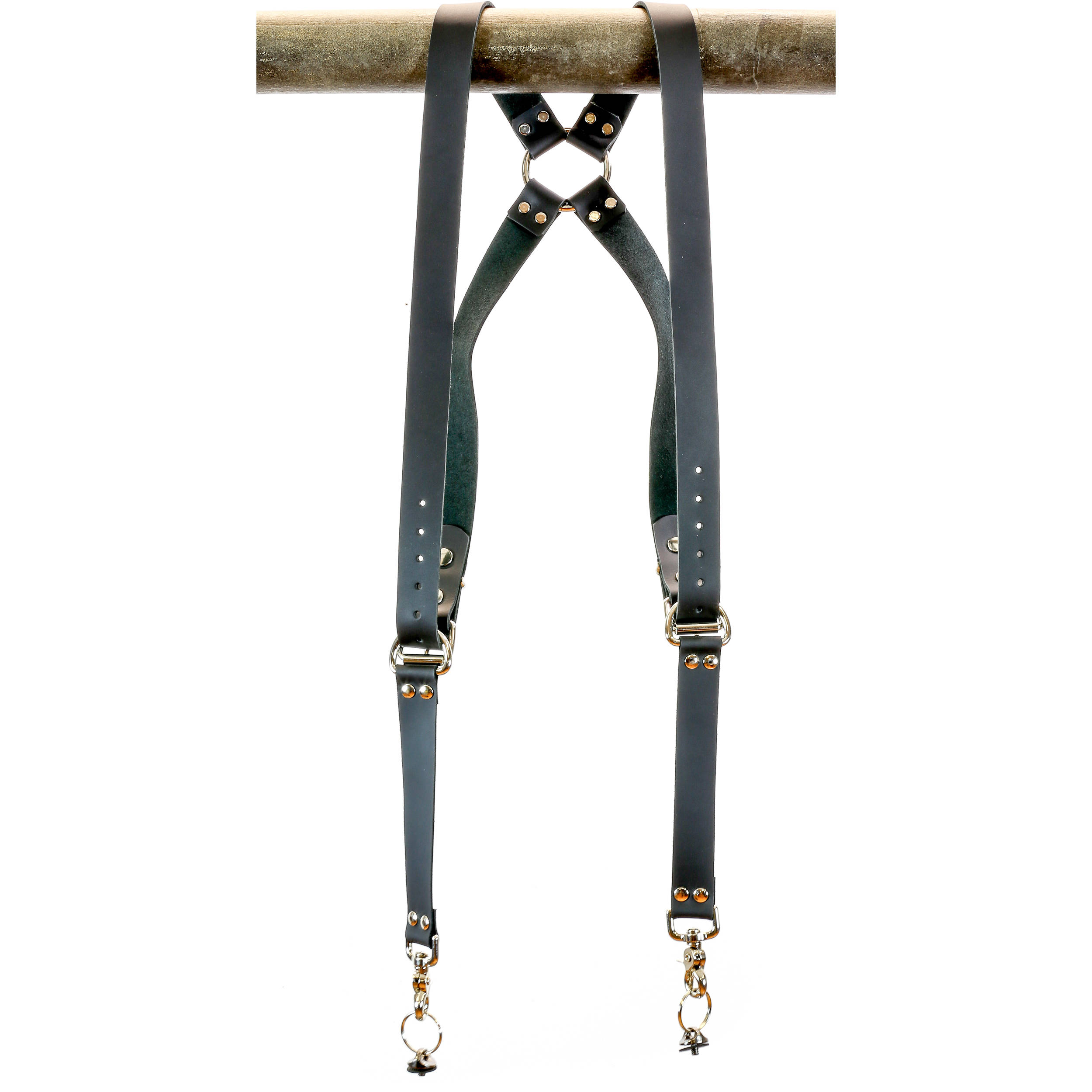 Funk Plus Classy Ring Back Dual Camera Leather Harness 1.25 Wide Black Cowhide