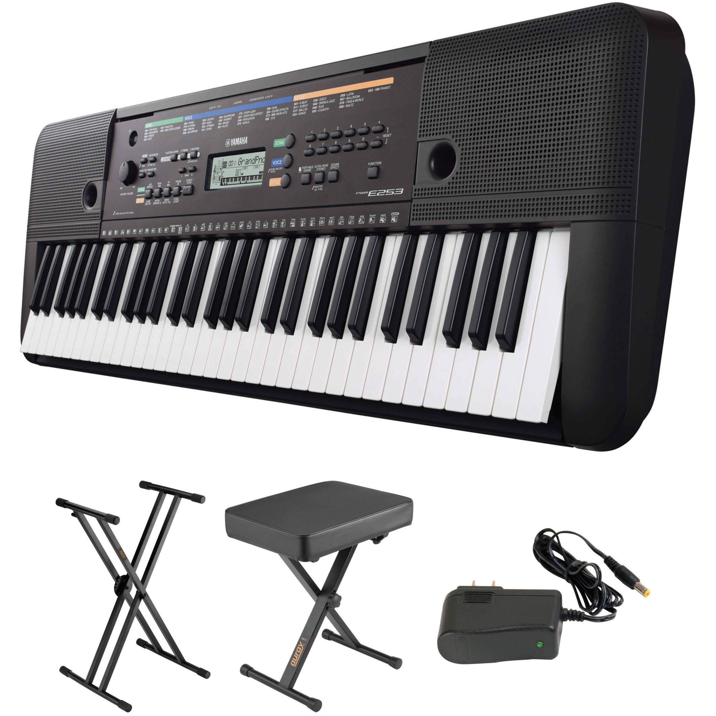 Yamaha Psr E253 Portable Keyboard Kit With Stand Bench And Power Supply