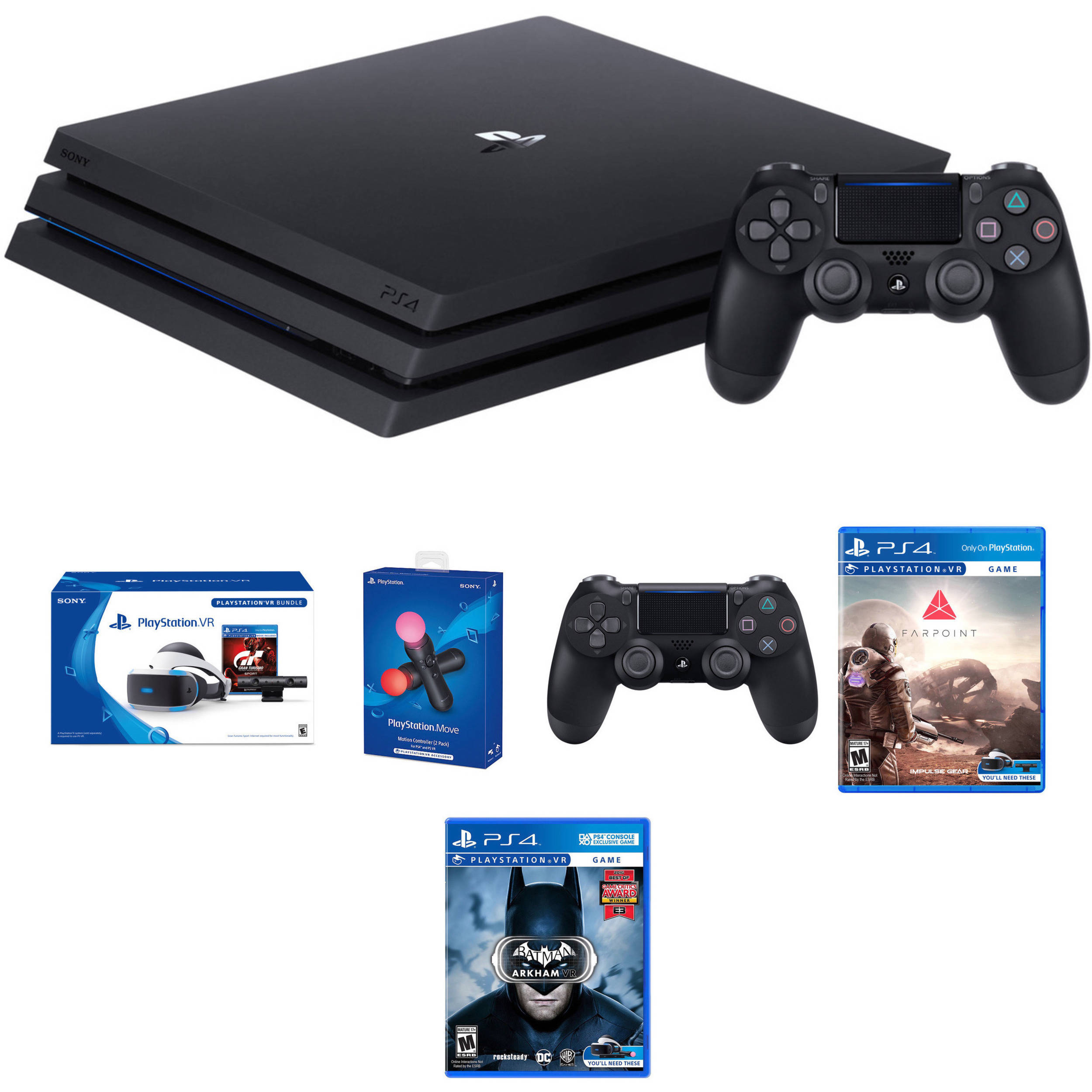 Sony PlayStation 4 Pro Gaming Console Kit with PS VR Gran Turismo Sport  Bundle, Farpoint VR, Batman: Arkham VR & Accessories
