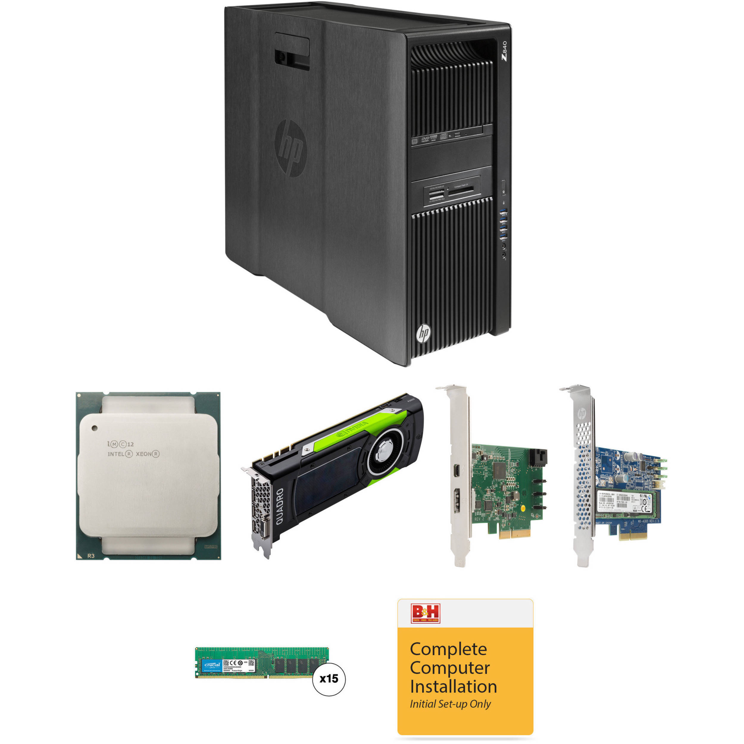 HP Z840 Series Turnkey Workstation with 2nd Xeon E5-2630 v3, 120GB RAM,  512GB SSD, Quadro M6000, and Thunderbolt 2 Card
