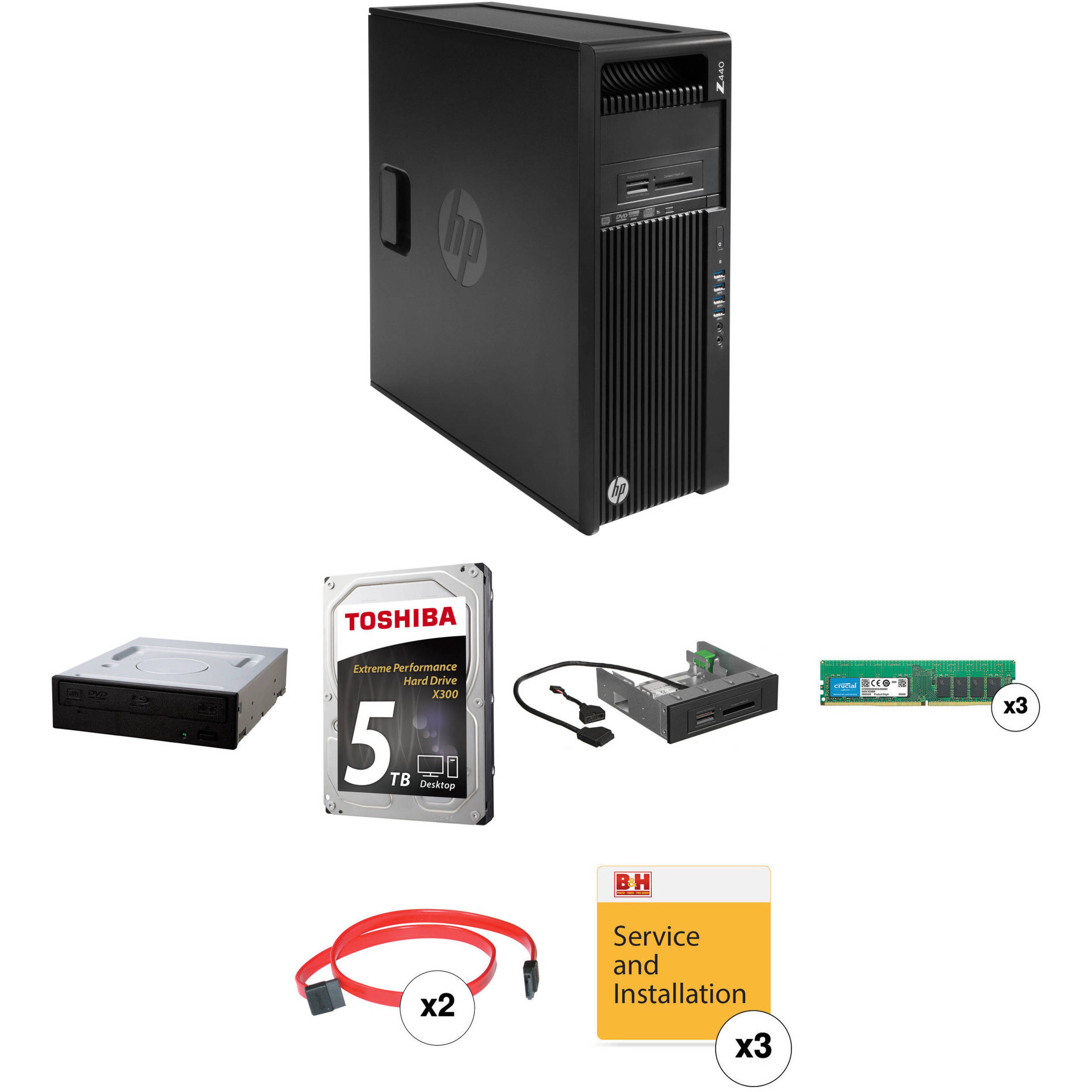 HP Z440 Series Turnkey Workstation with 32GB RAM, 5TB HDD, Blu-ray  Rewriter, and 15-in-1 Media Card Reader
