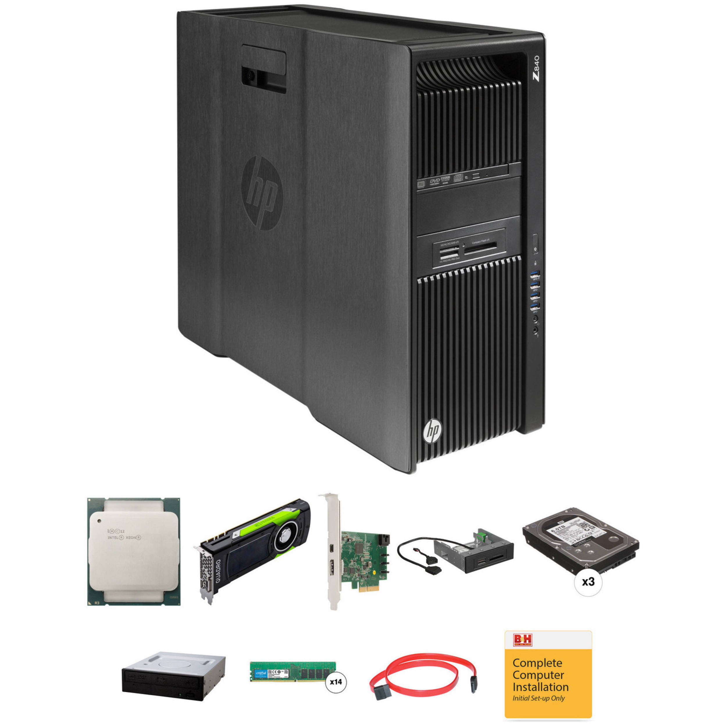 HP Z840 Series Turnkey Workstation with 2x Xeon E5-2650 v4, 128GB RAM, 3 x  6TB HDDs, Quadro M6000, Blu-ray Drive, Thunderbolt 2 Card, and 15-in-1