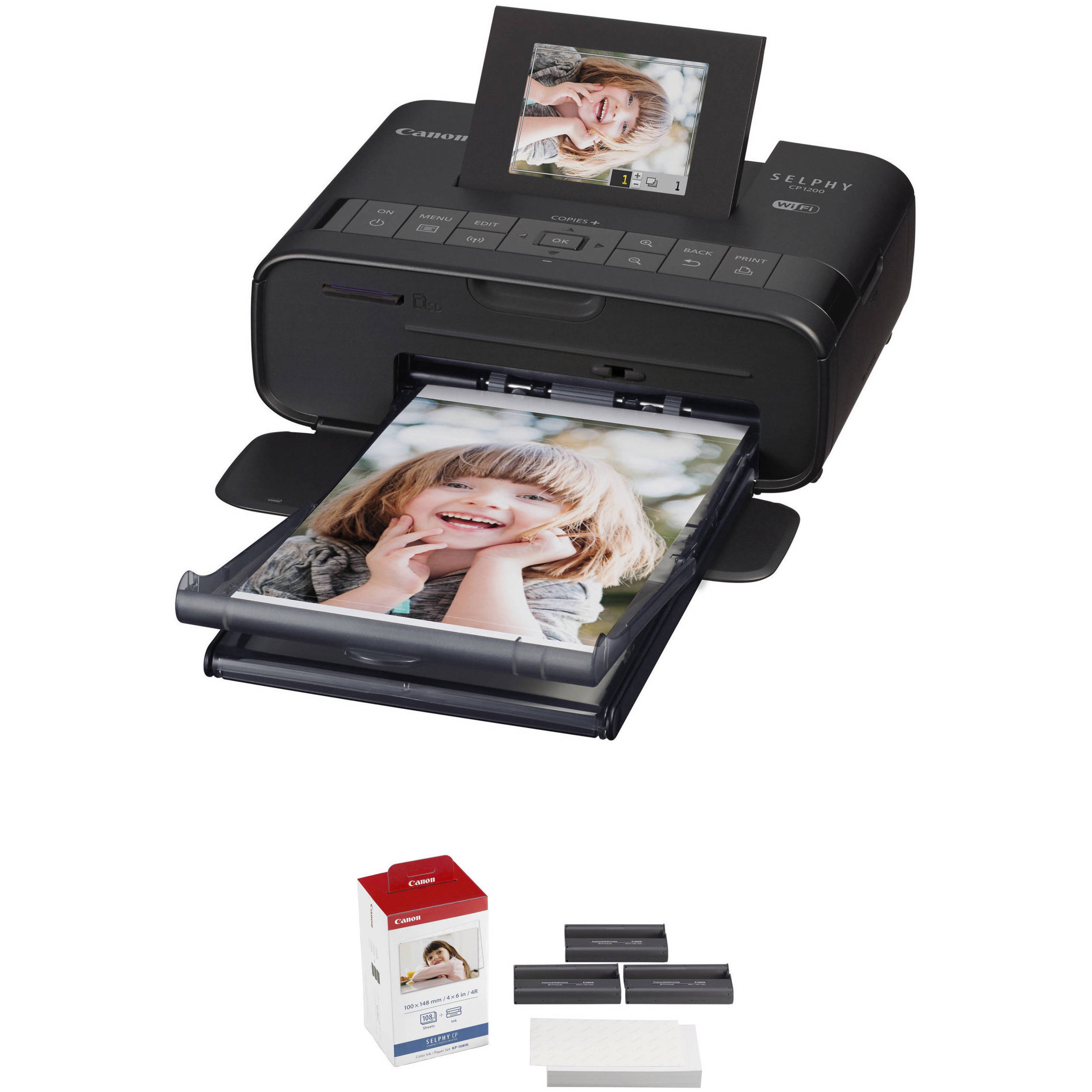 Canon SELPHY CP1200 Wireless Compact Photo Printer with KP-108IN Photo  Paper & Ink Kit (Black)