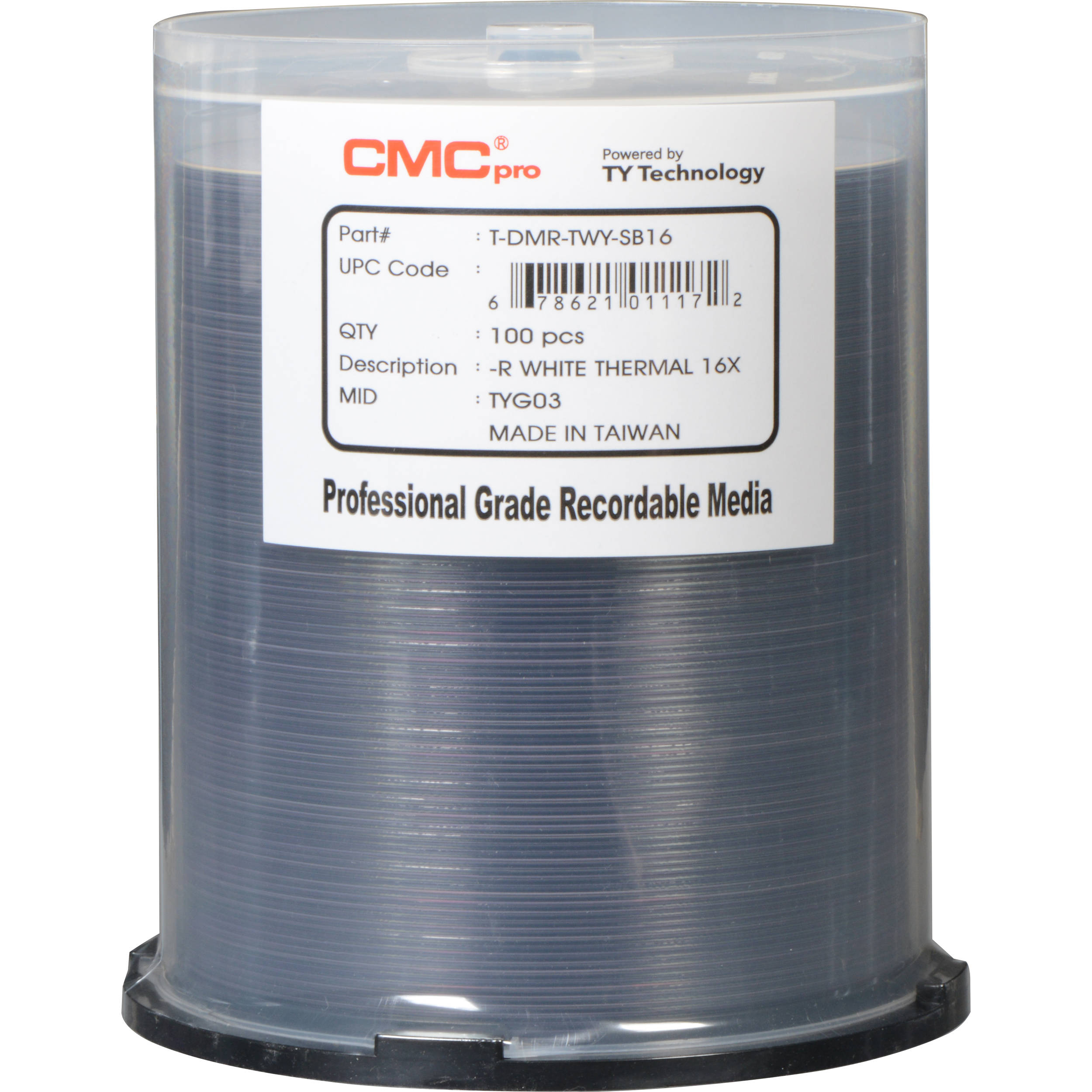 graphic about Dvd R Printable named CMC Qualified 4.7GB DVD-R 16x White Thermal Printable Disc (100-Pack)