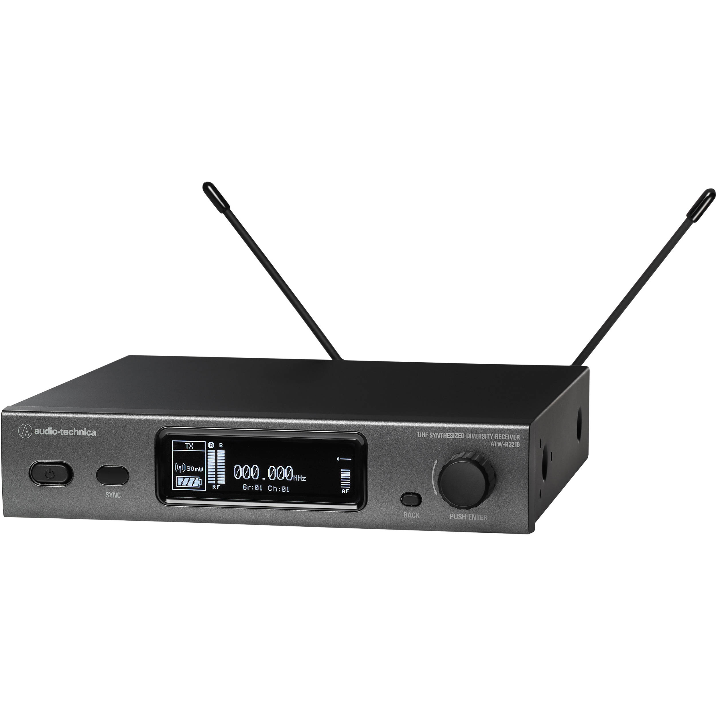 Audio-Technica ATW-3210EE1 3000 Series (Fourth Generation) True Diversity  Receiver (EE1: 530 000 to 589 975 MHz)