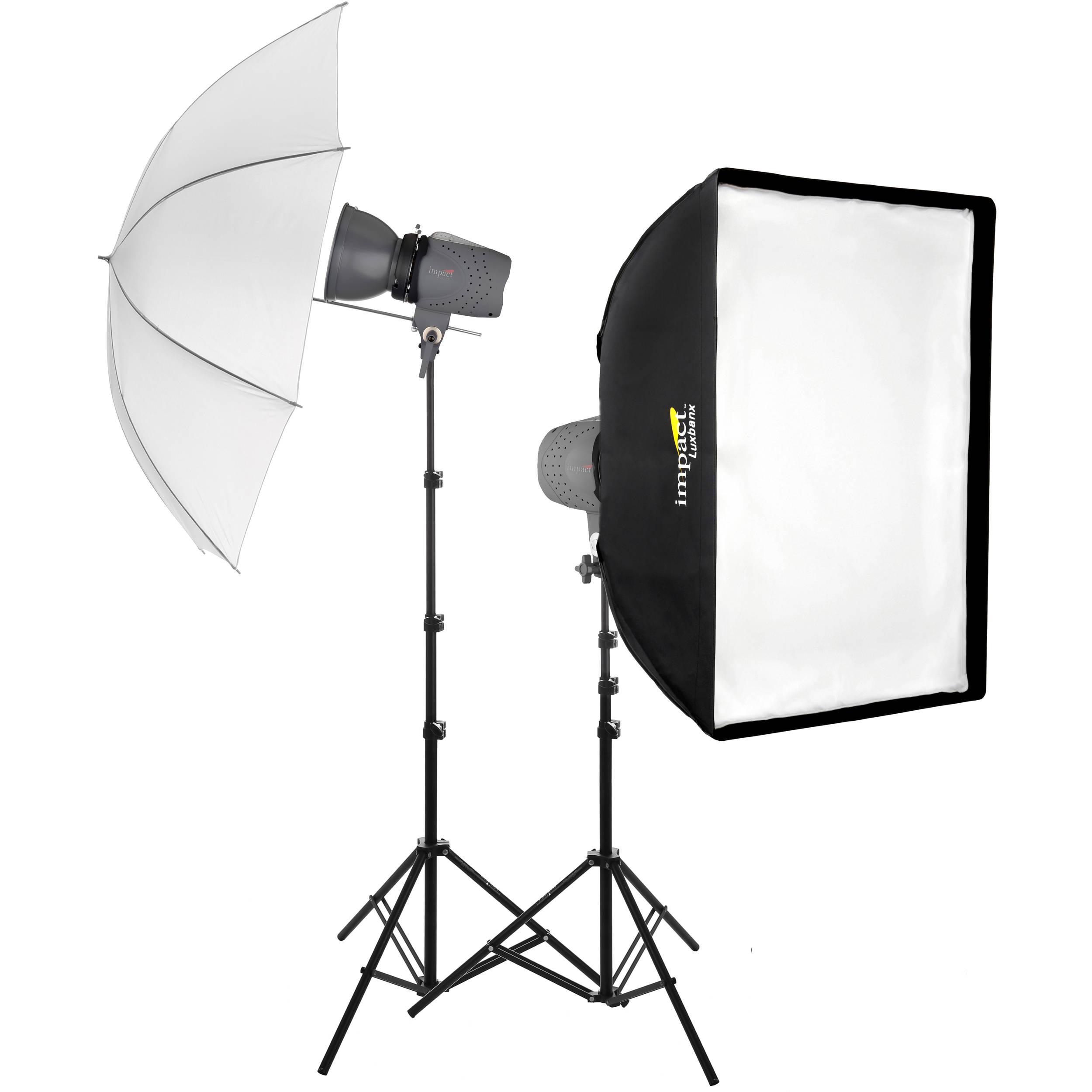 Impact Two Monolight Umbrella Softbox Kit 120 Vac