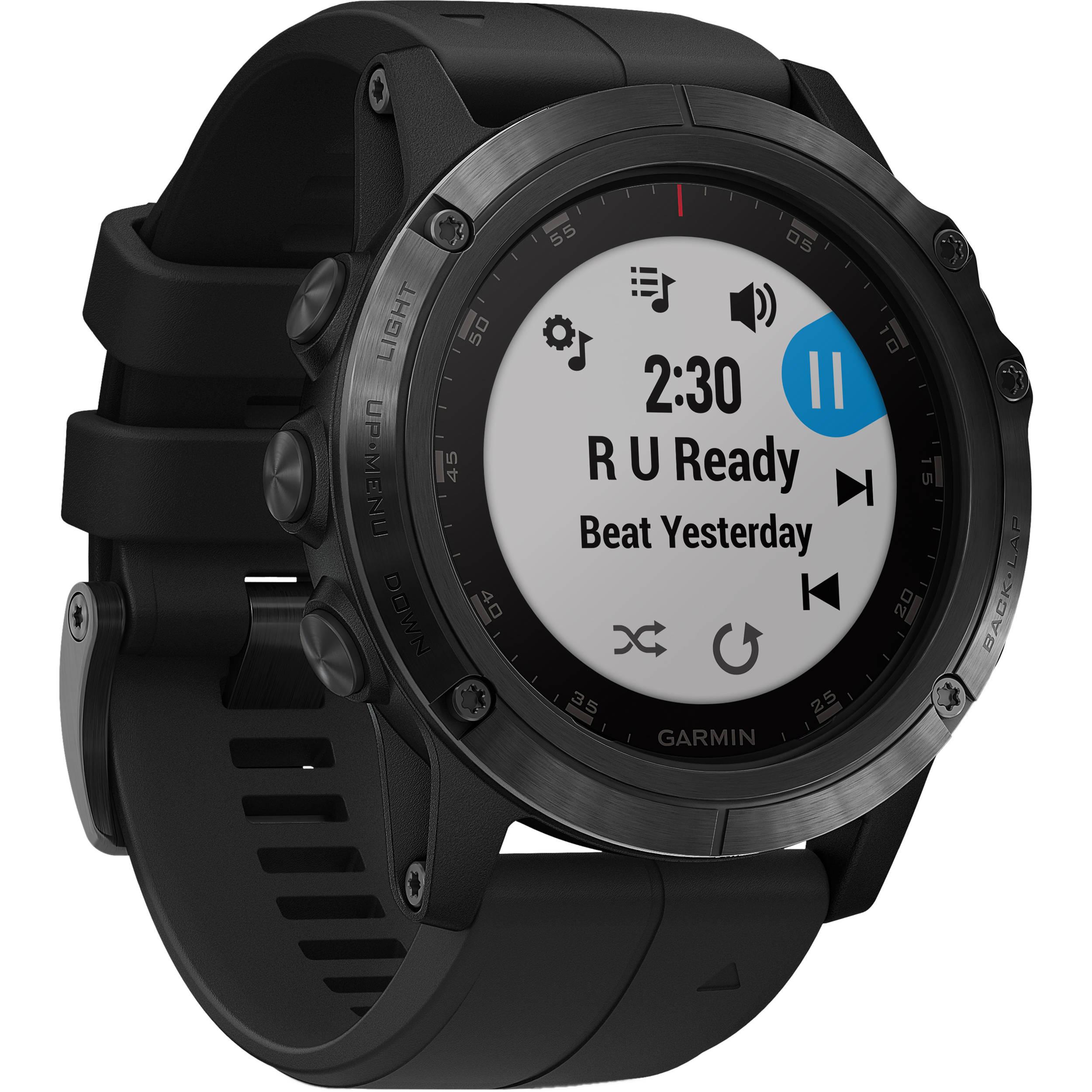 Garmin Fenix 5x Plus Sapphire Edition Multi Sport Training Gps Watch 51mm Black With Black Band